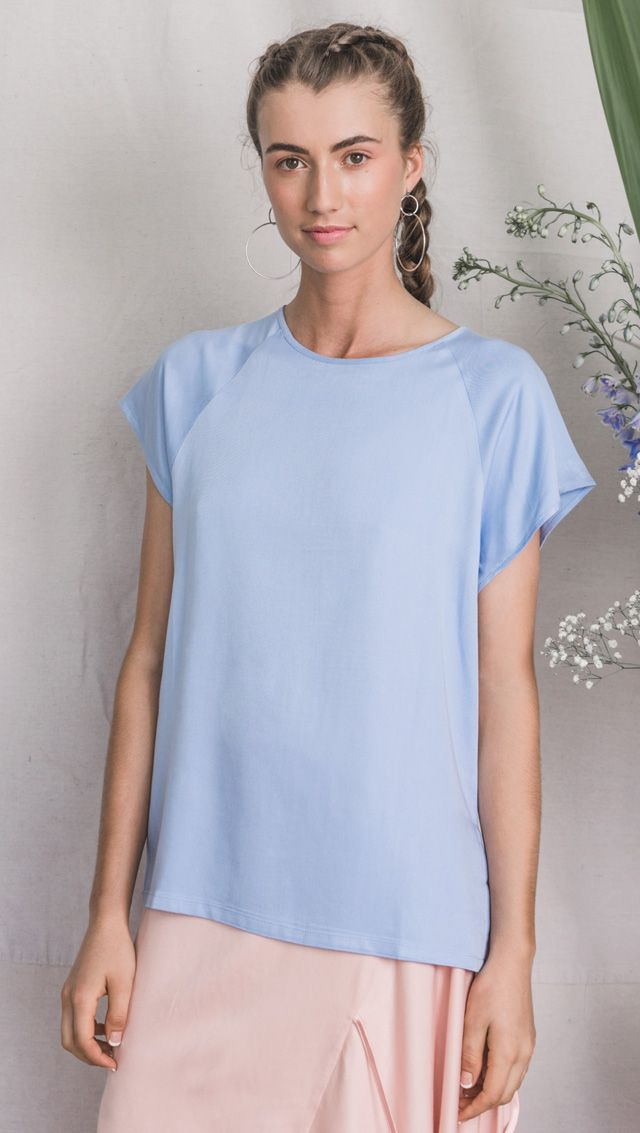 bamboo top, bamboo clothing, blue top, raglan top, australian design, ecofashion, bamboo fashion, sustainable clothing, vegan fashion, summer fashion,