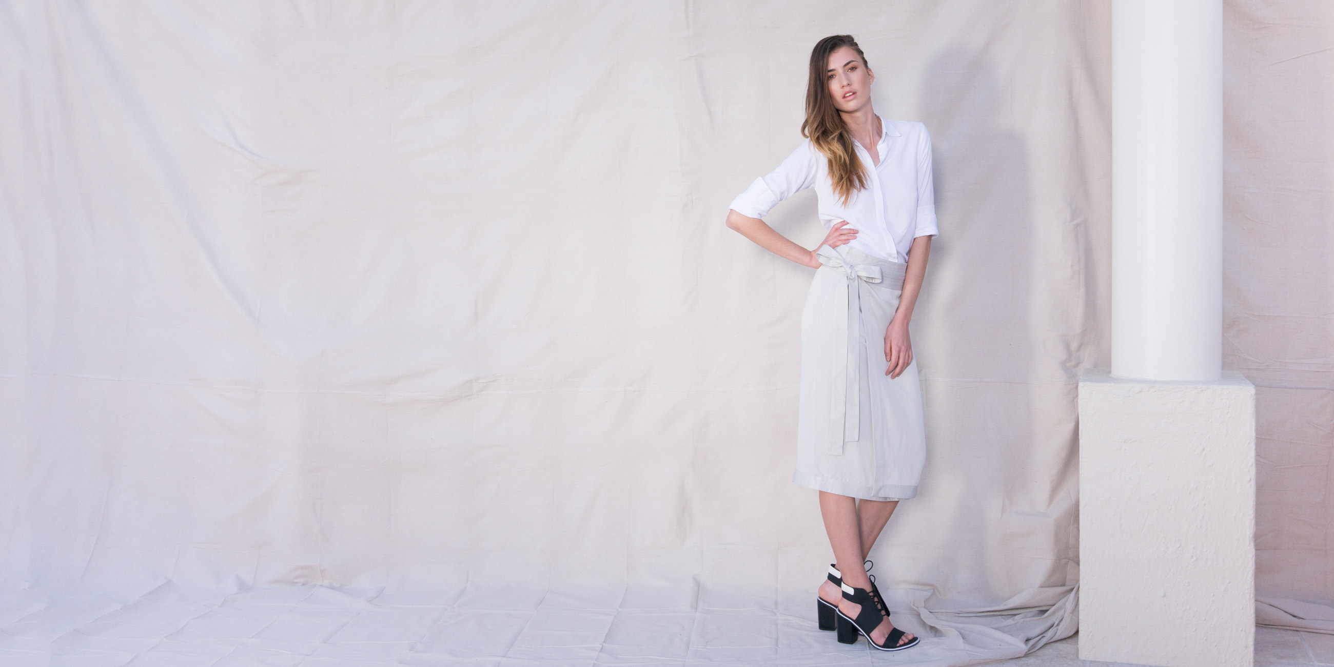 Orbit Collection Bamboo Clothing Elara Wrap Skirt Stone 1