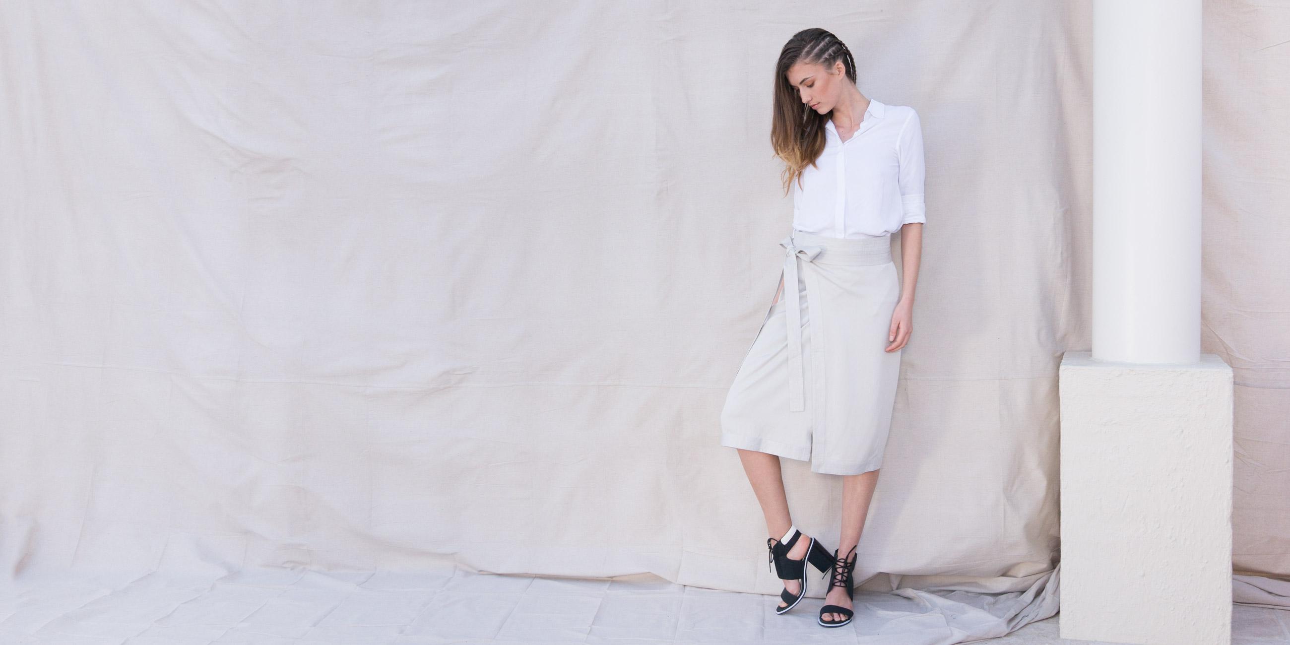 Orbit Collection Bamboo Clothing Elara Wrap Skirt Stone 3