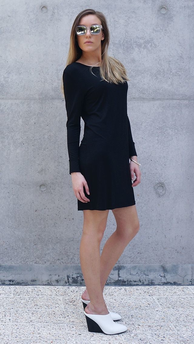 Bamboo Jersey Eco Friendly Fashion Long Sleeve Short Dress Black