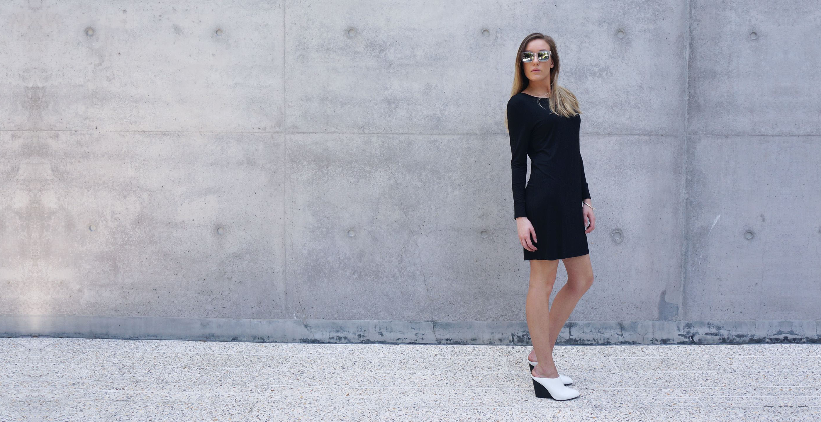Bamboo Long Sleeve Short Dress Europa black 4