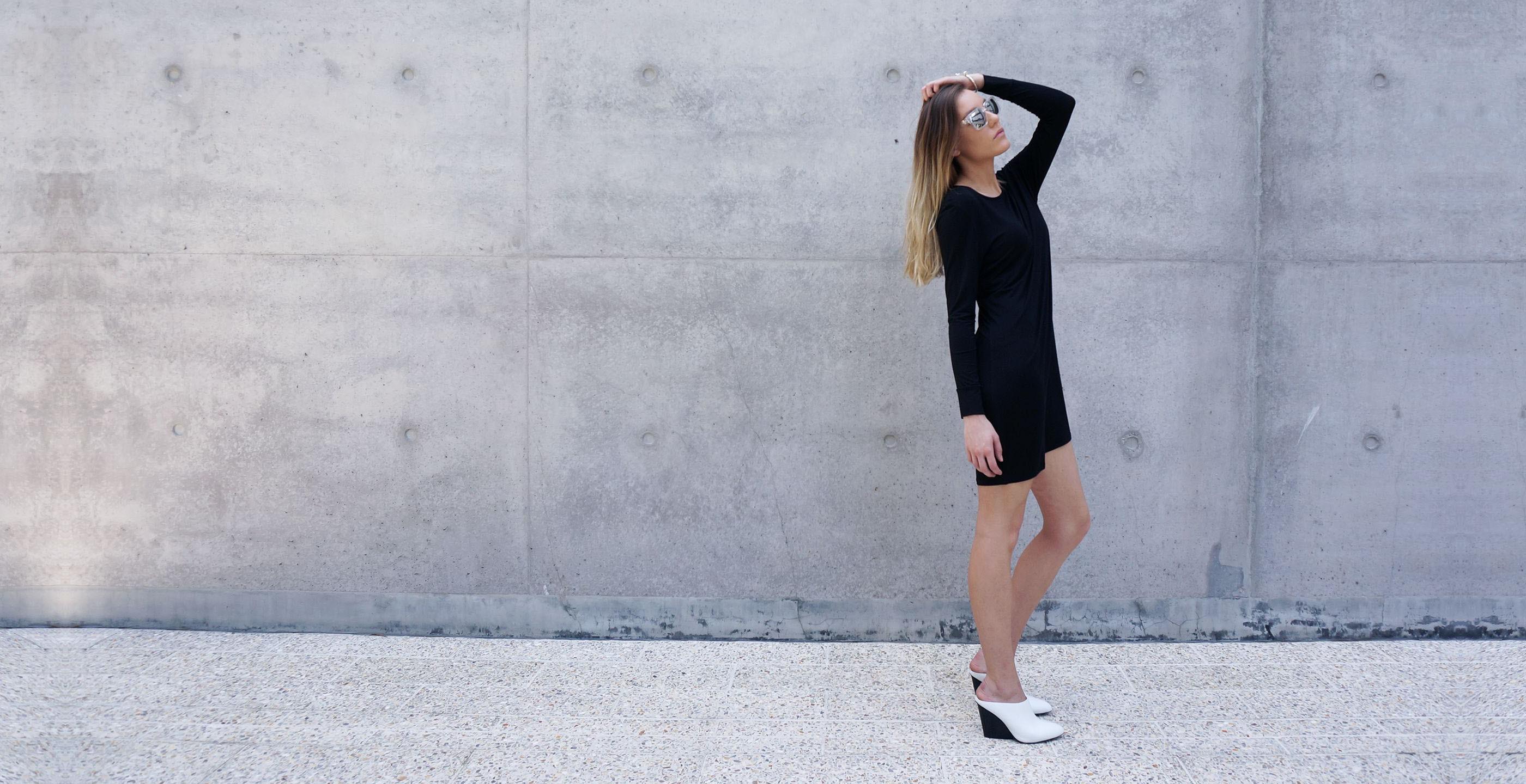 Bamboo Long Sleeve Short Dress Europa black 3