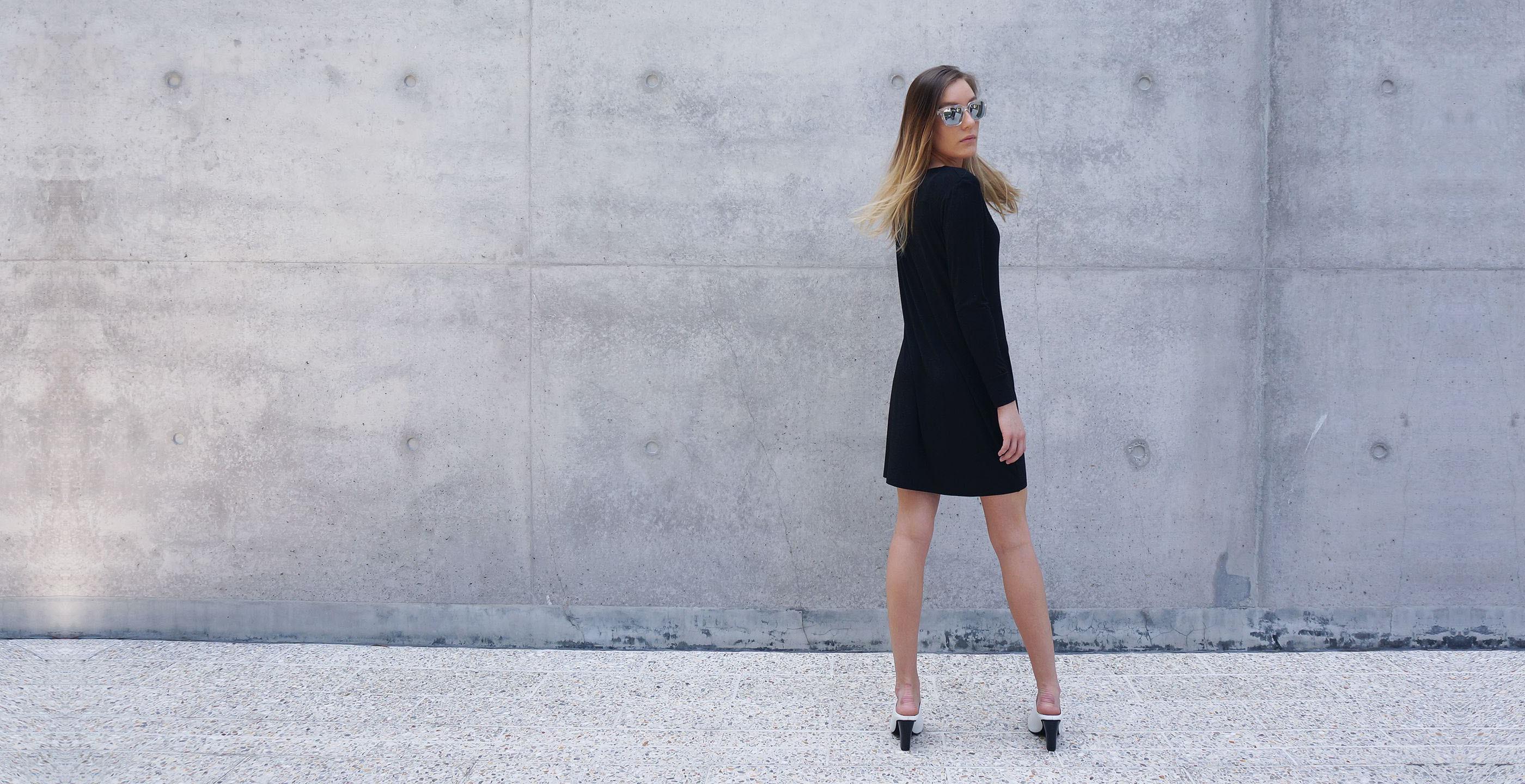 Bamboo Long Sleeve Short Dress Europa black 2