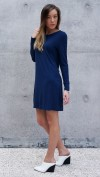Bamboo Jersey Eco Friendly Fashion Long Sleeve Short Dress Blue