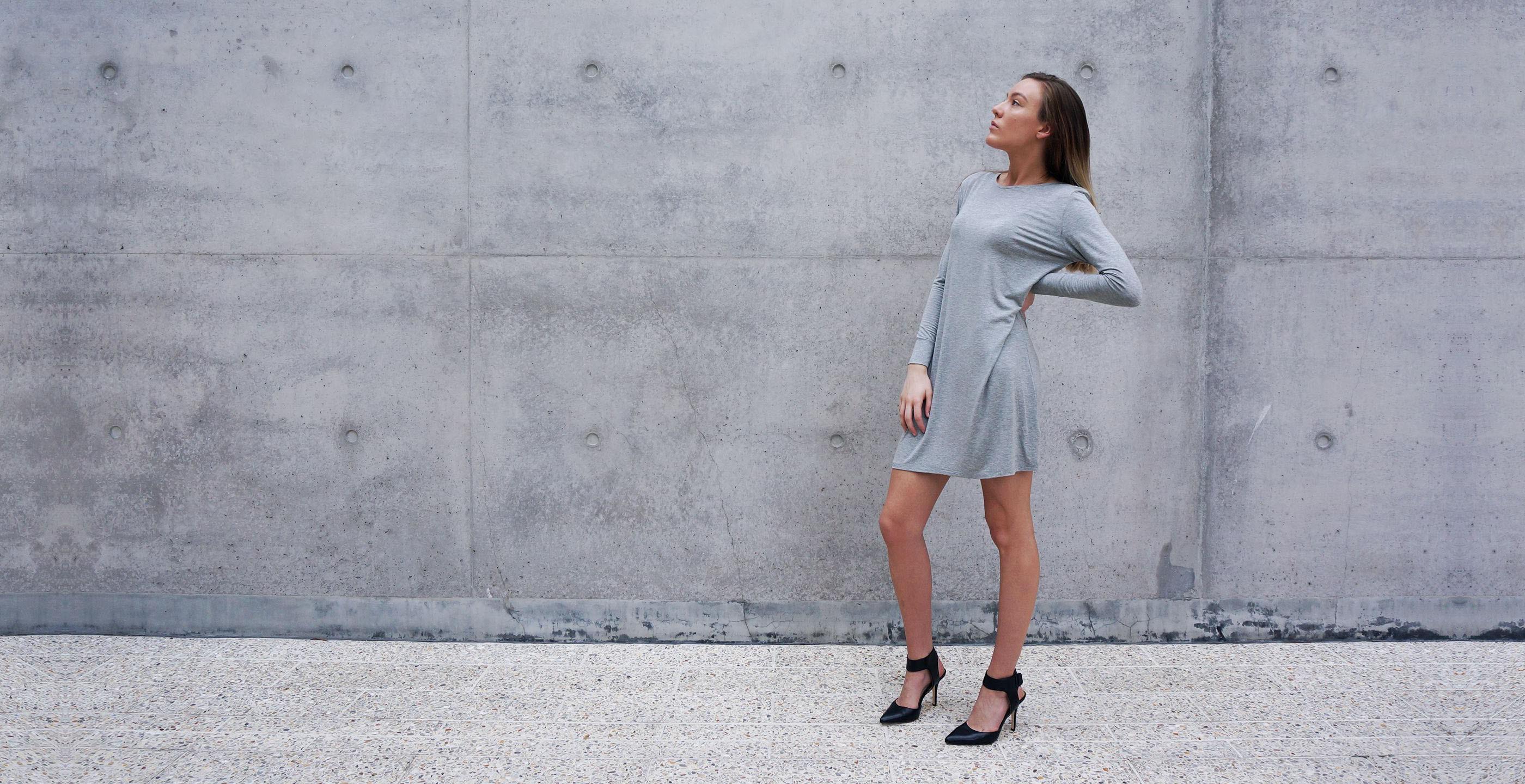 Bamboo Long Sleeve Short Dress Europa Grey 3