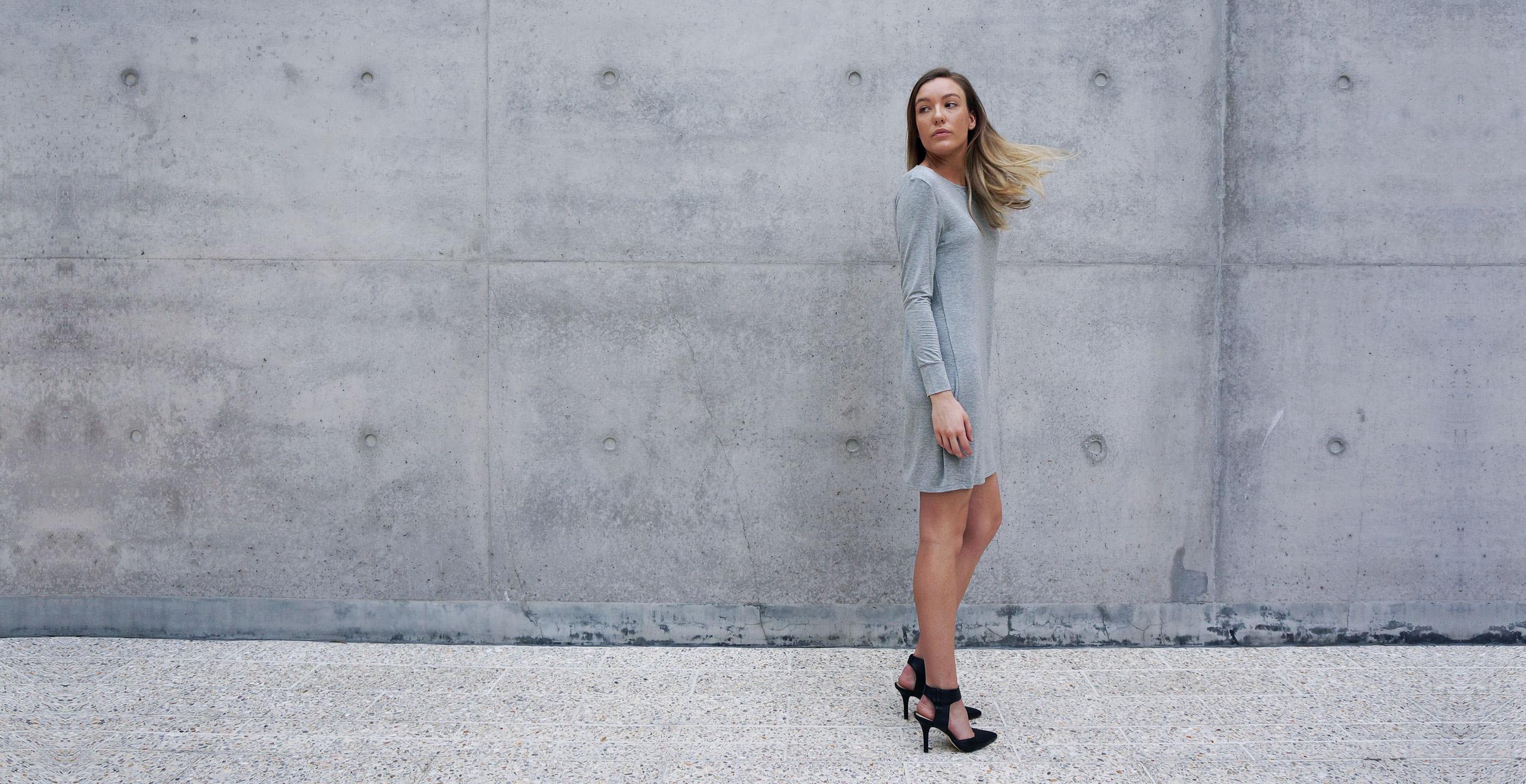 Bamboo Long Sleeve Short Dress Europa Grey 2