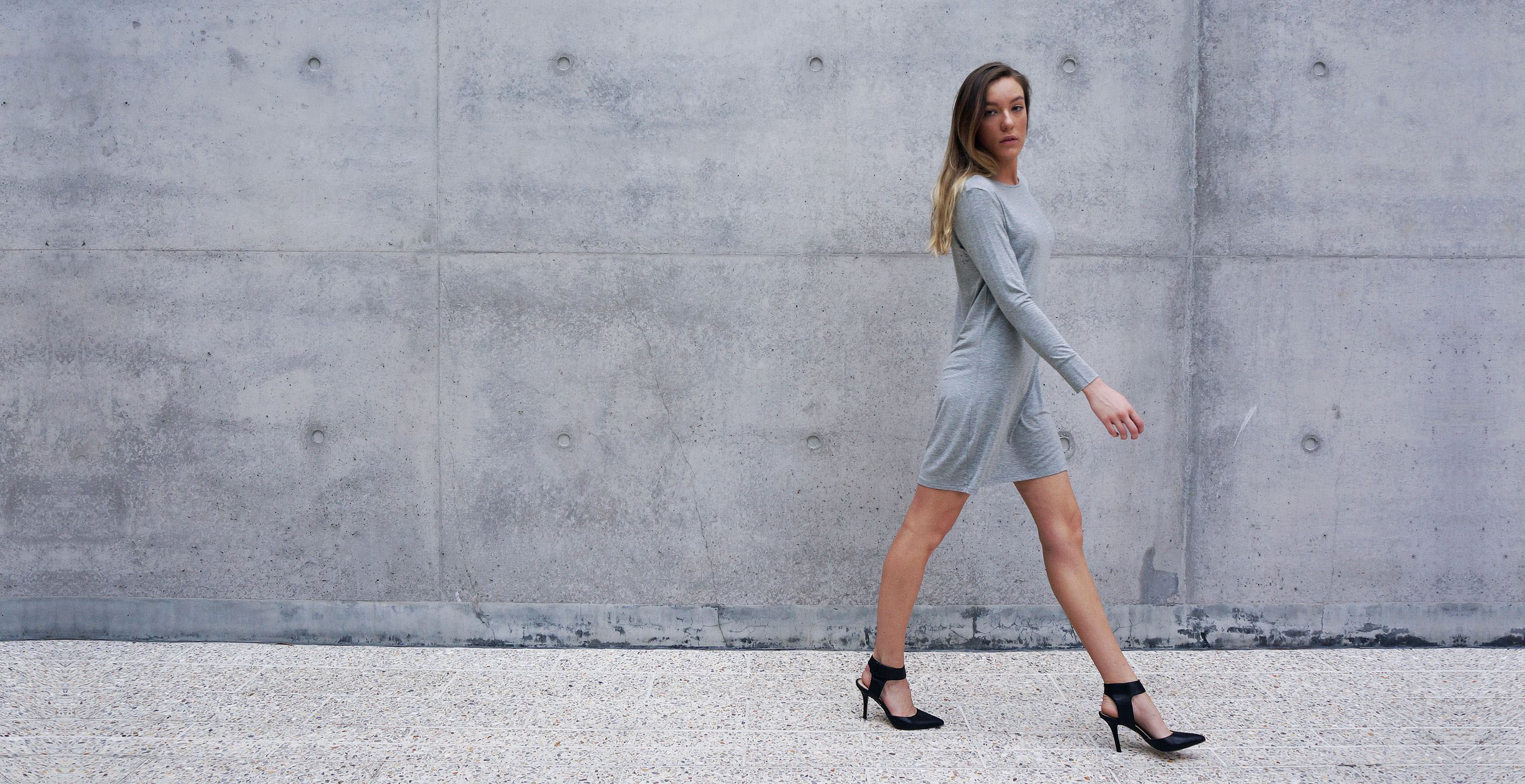 Bamboo Long Sleeve Short Dress Europa Grey