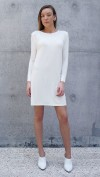Bamboo Jersey Eco Friendly Fashion Long Sleeve Short Dress White