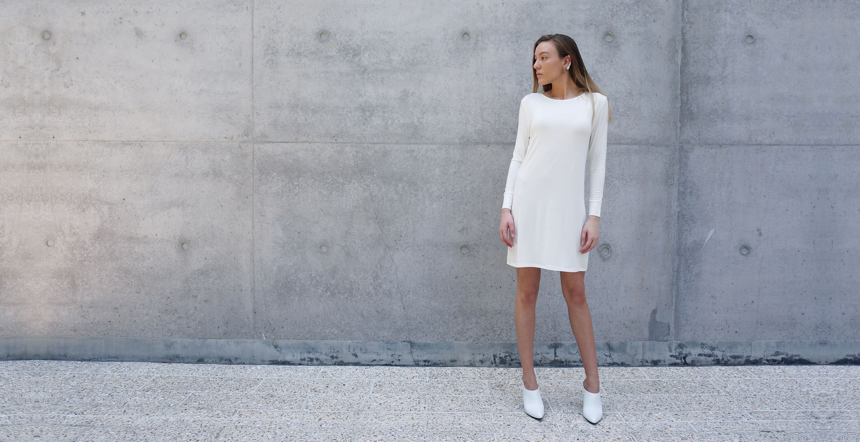 Bamboo Long Sleeve Short Dress Europa White 3