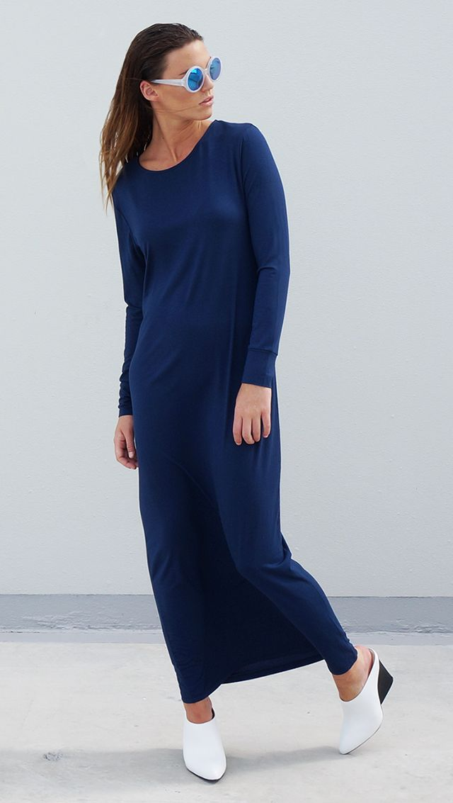 Bamboo Jersey Long Sleeve Maxi Dress The Great Beyond Europa Blue