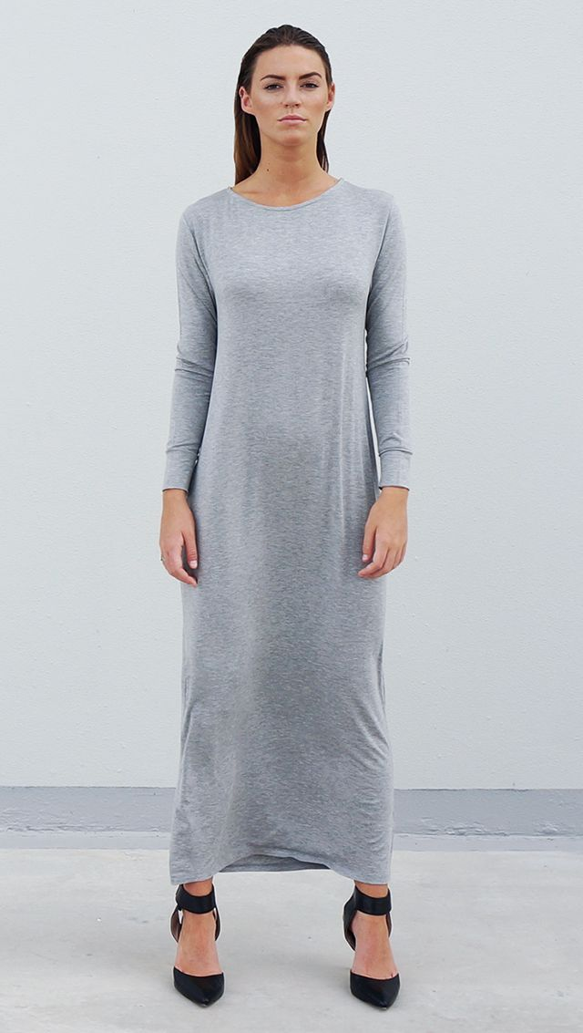 Bamboo Jersey Eco Friendly Fashion Long Sleeve Maxi Dress Grey