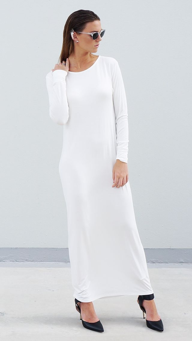 Bamboo Jersey Eco Friendly Fashion Long Sleeve Maxi Dress White