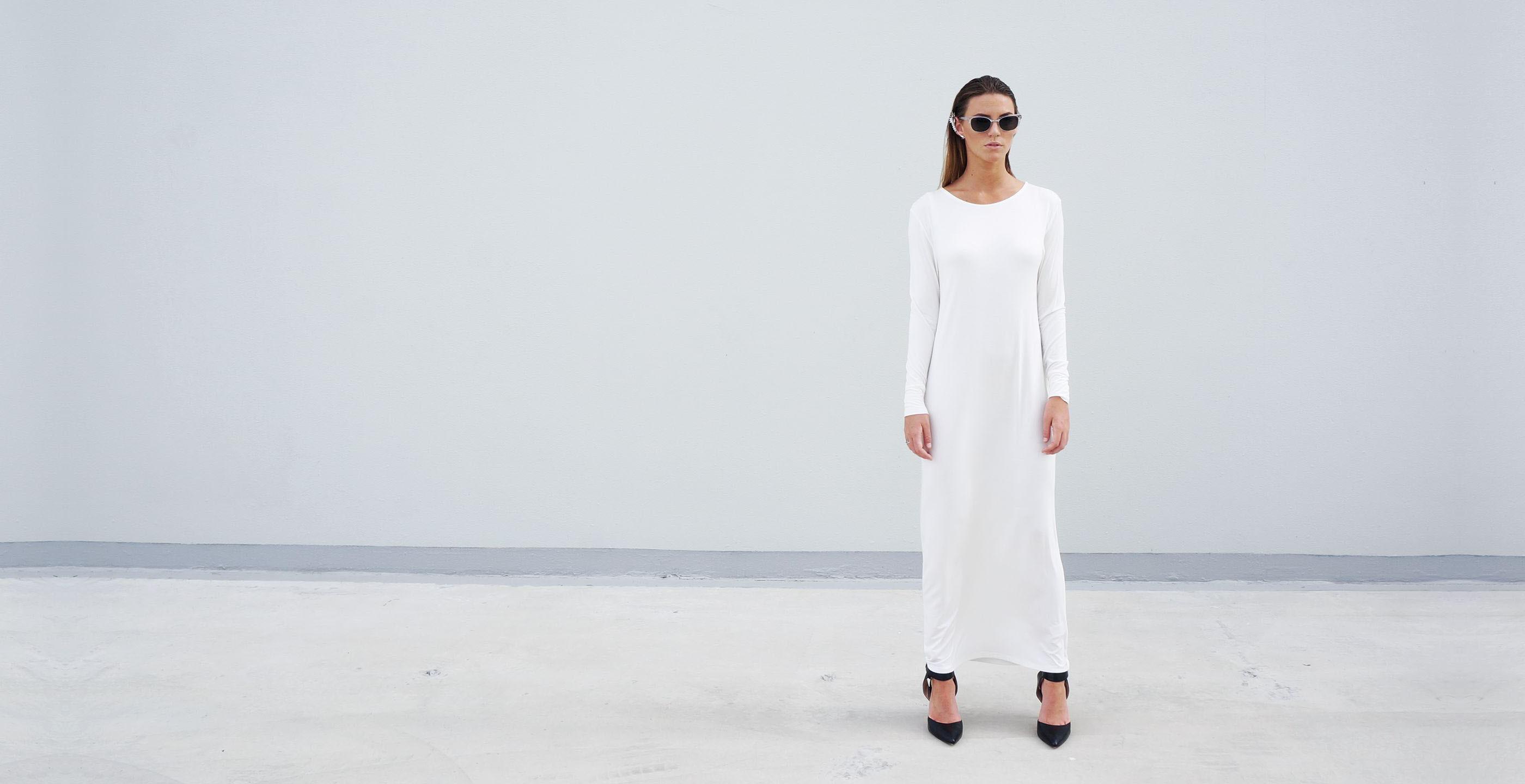 Bamboo Long Sleeve Maxi Dress Europa White 4