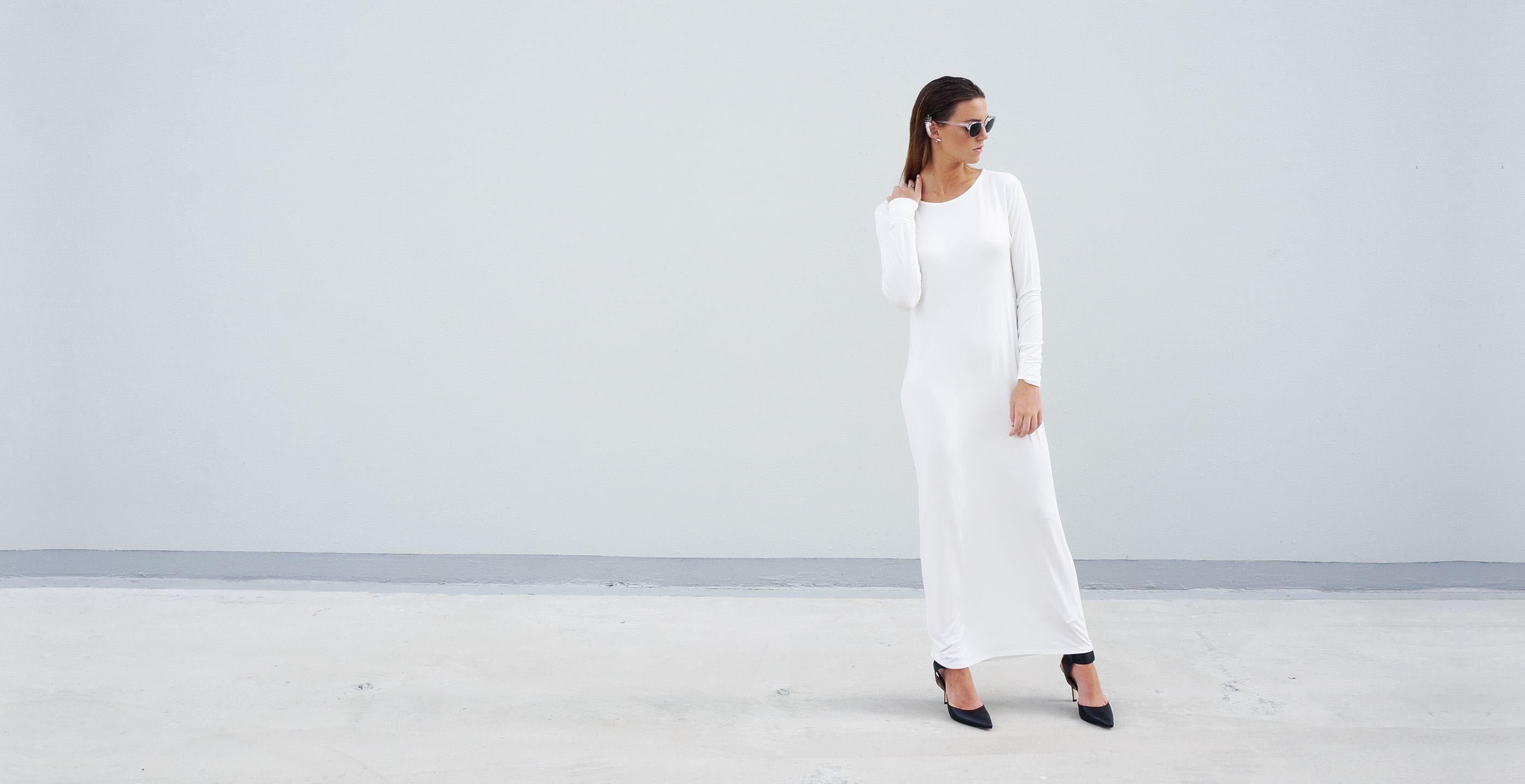 Bamboo Long Sleeve Maxi Dress Europa White 3