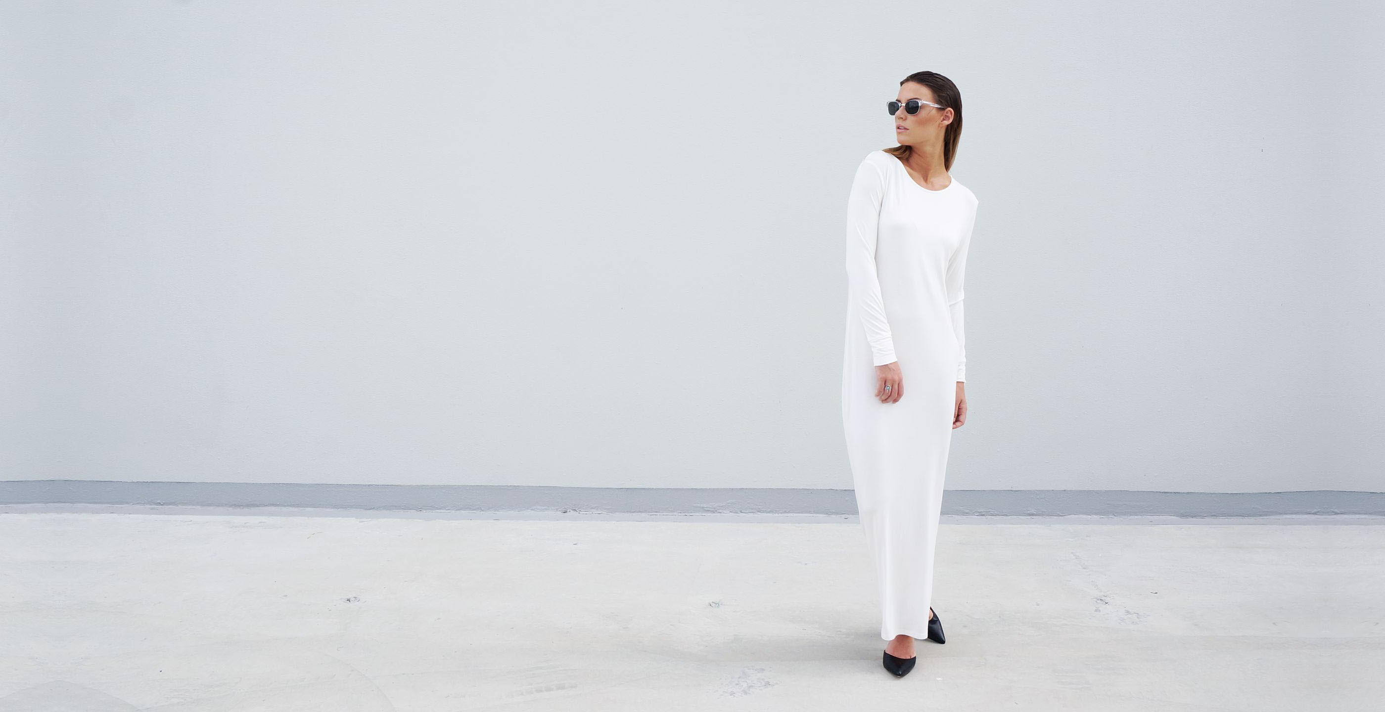 Bamboo Long Sleeve Maxi Dress Europa White 2