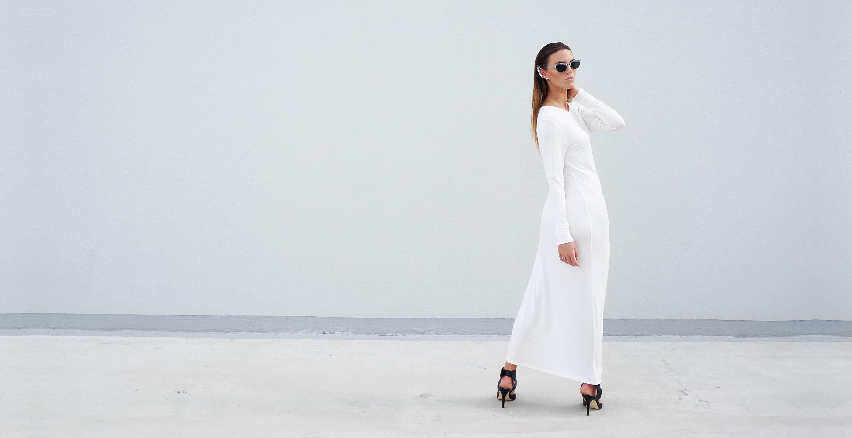 Bamboo Long Sleeve Maxi Dress Europa White