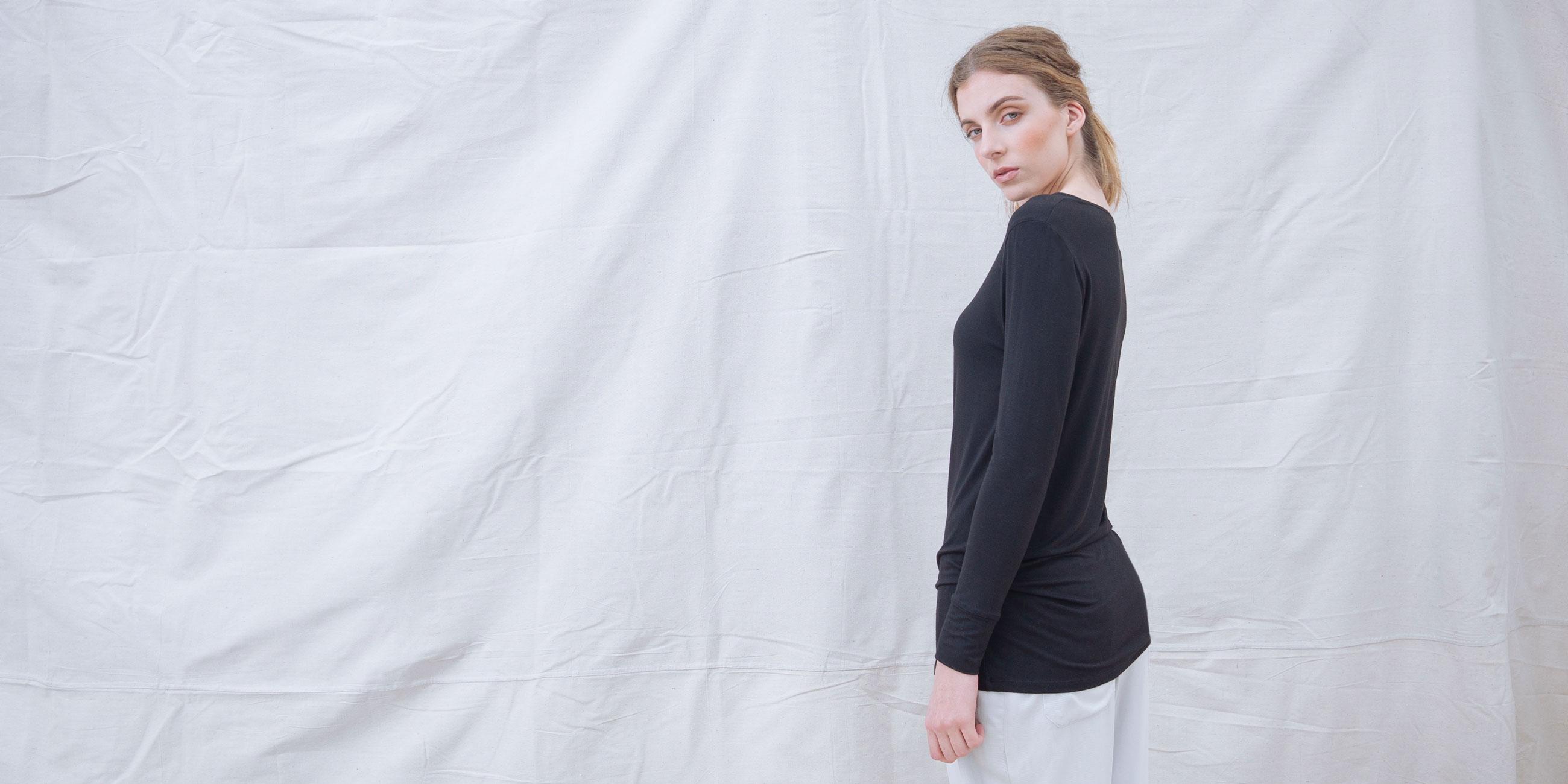 Bamboo Long Sleeve Top Europa Black  3