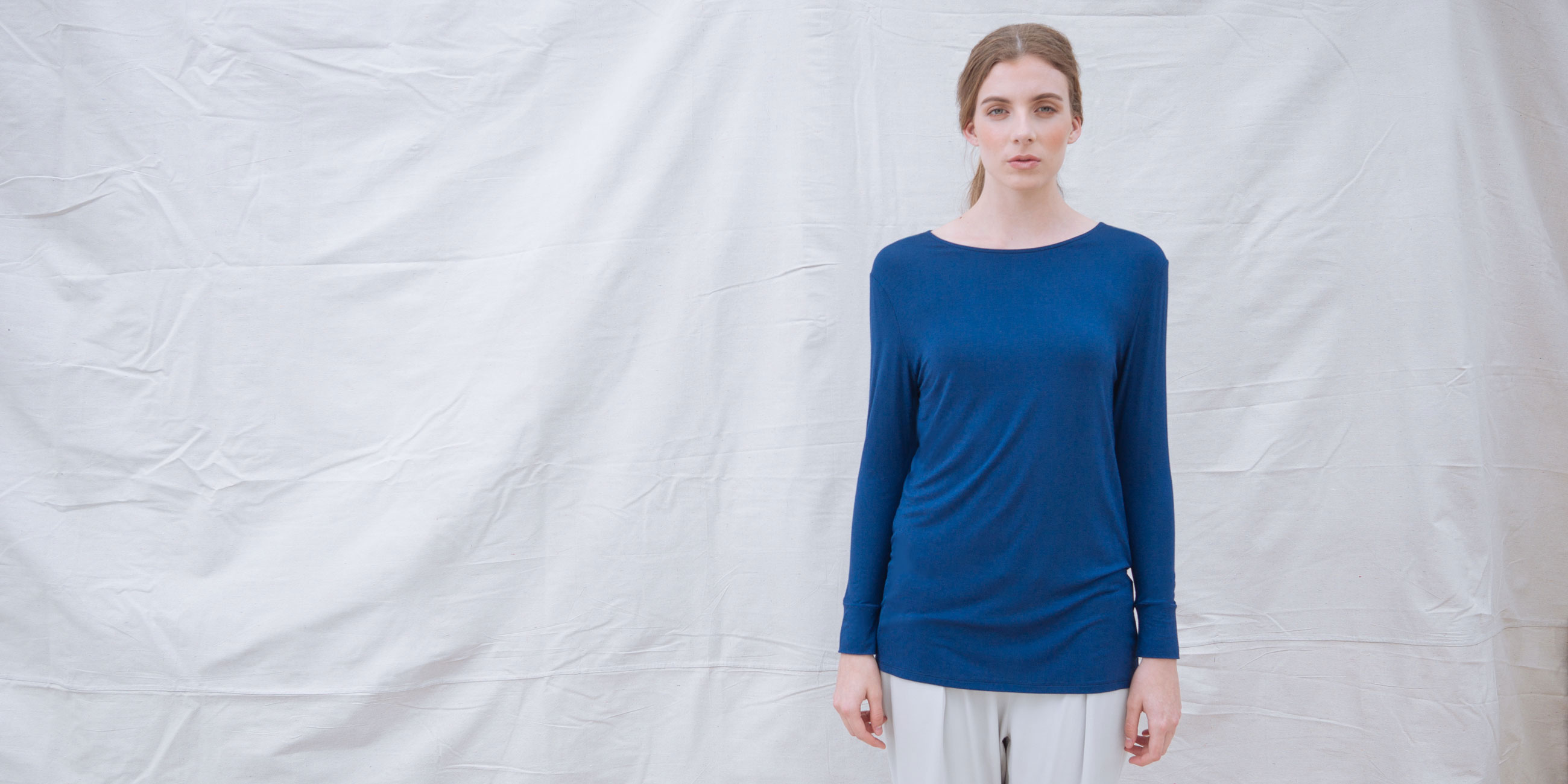 Bamboo Long Sleeve Top Europa Blue 1