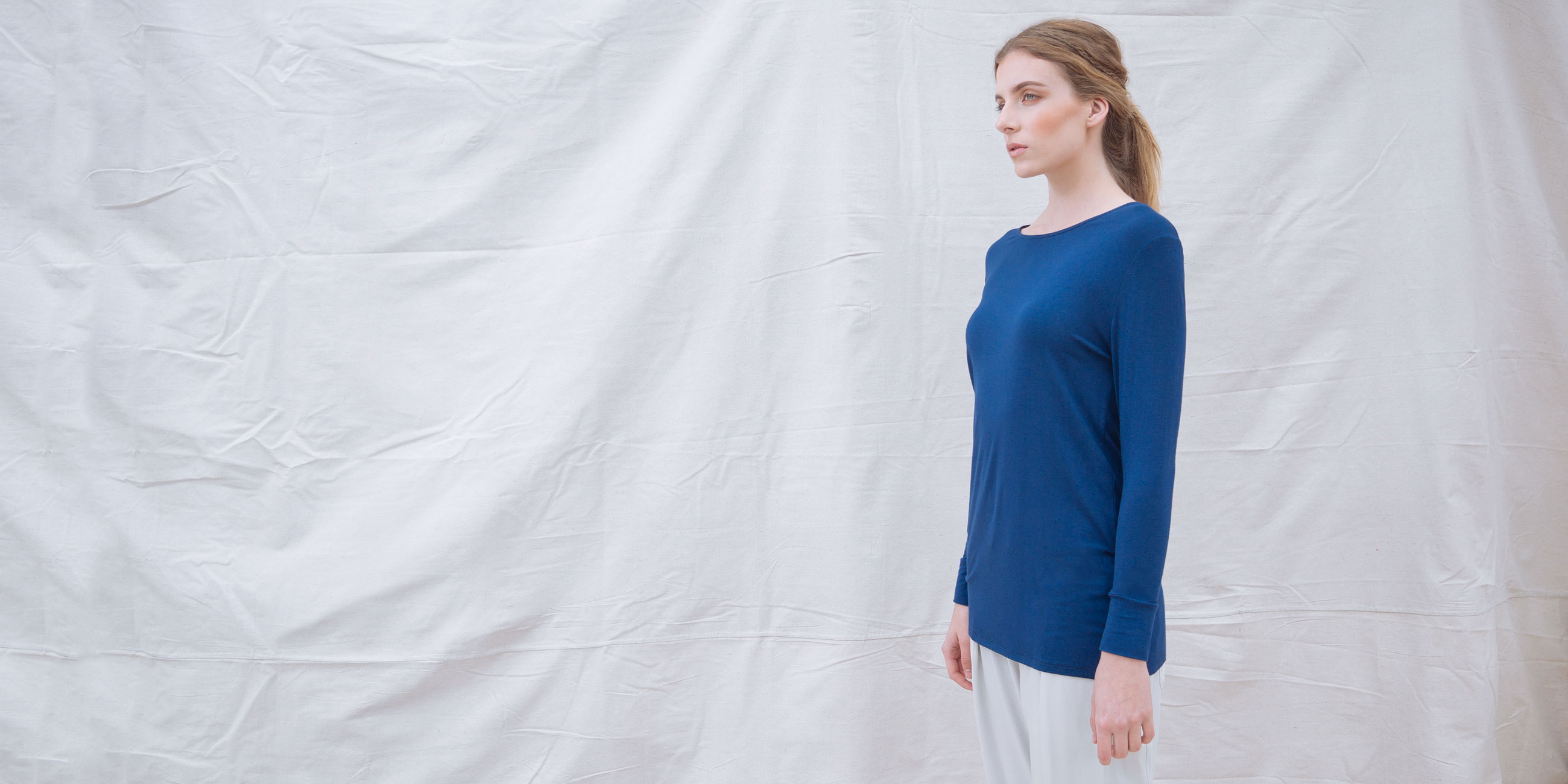 Bamboo Long Sleeve Top Europa Blue  2