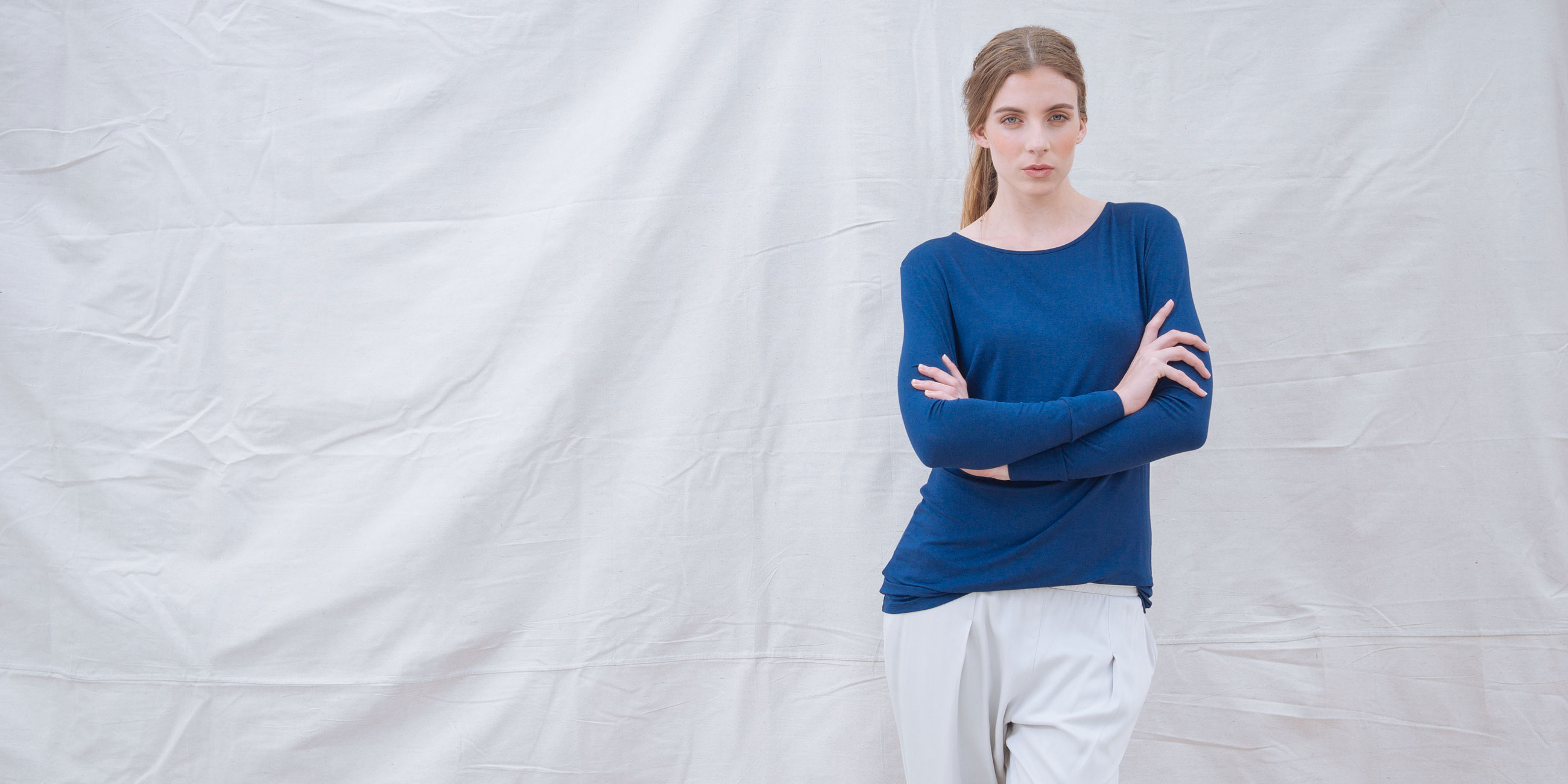 Bamboo Long Sleeve Top Europa Blue  4