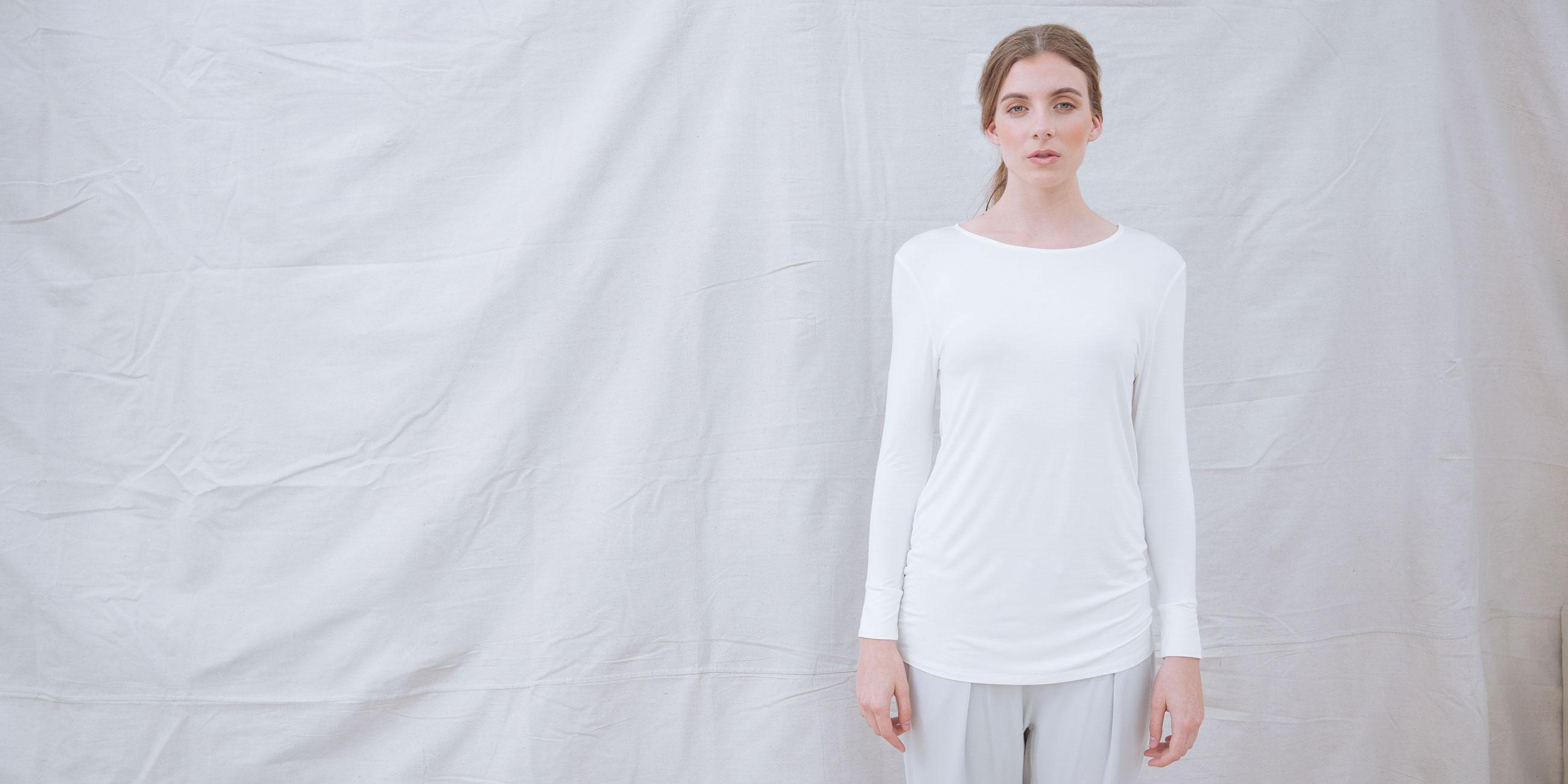 Bamboo Long Sleeve Top Europa White 1
