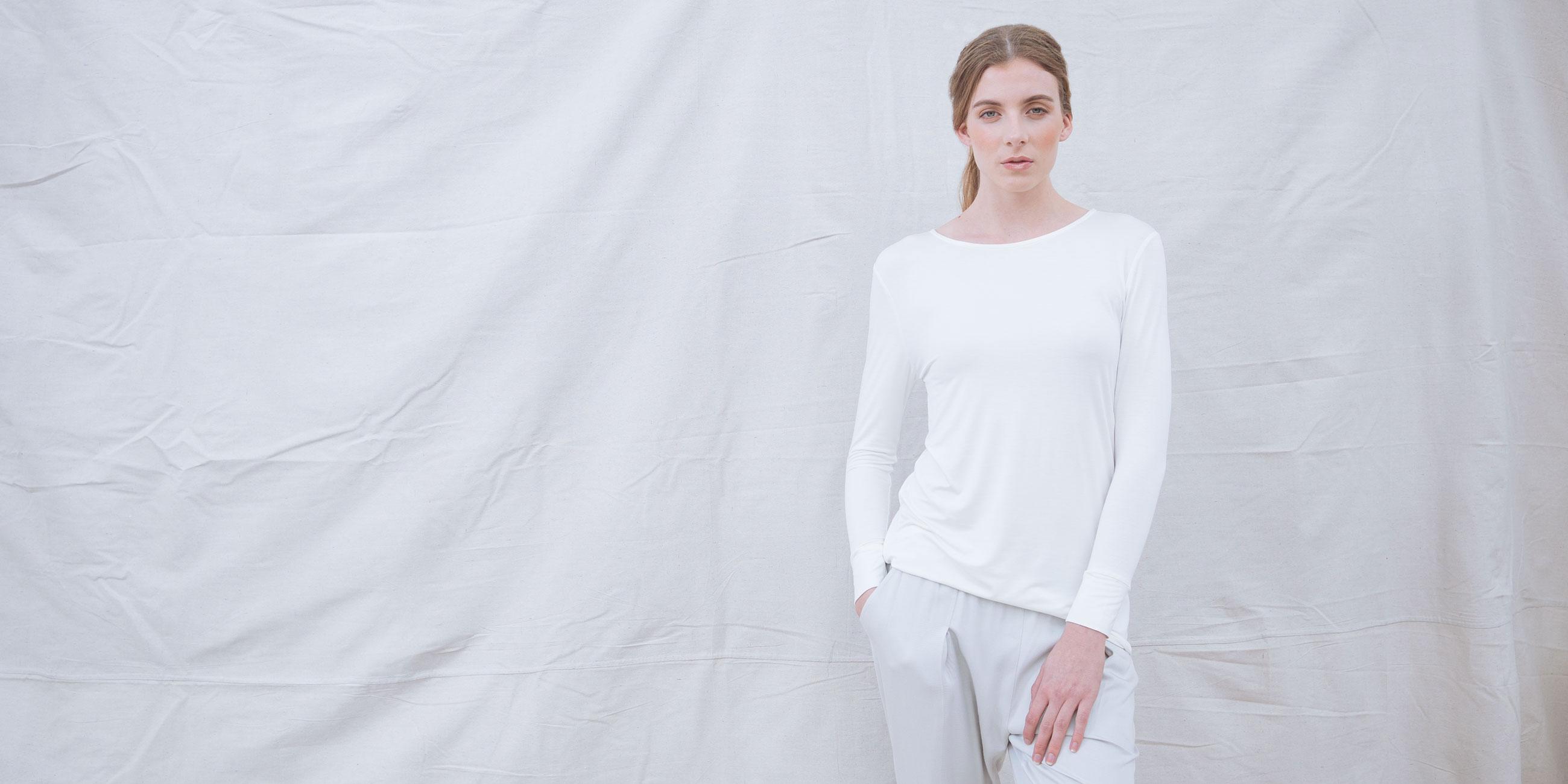 Bamboo Long Sleeve Top Europa White 4