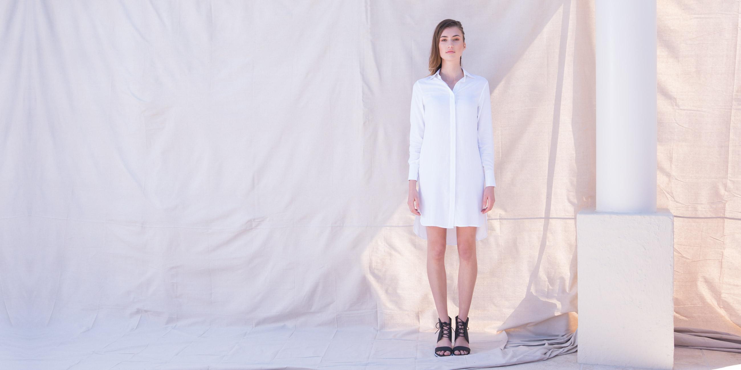 Orbit Collection Bamboo Clothing Helene Shirt Dress White 1