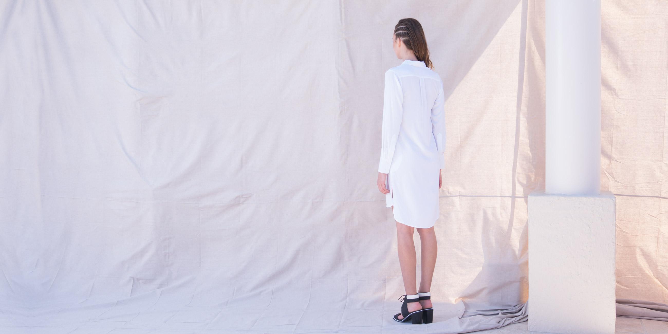 Orbit Collection Bamboo Clothing Helene Shirt Dress White 2