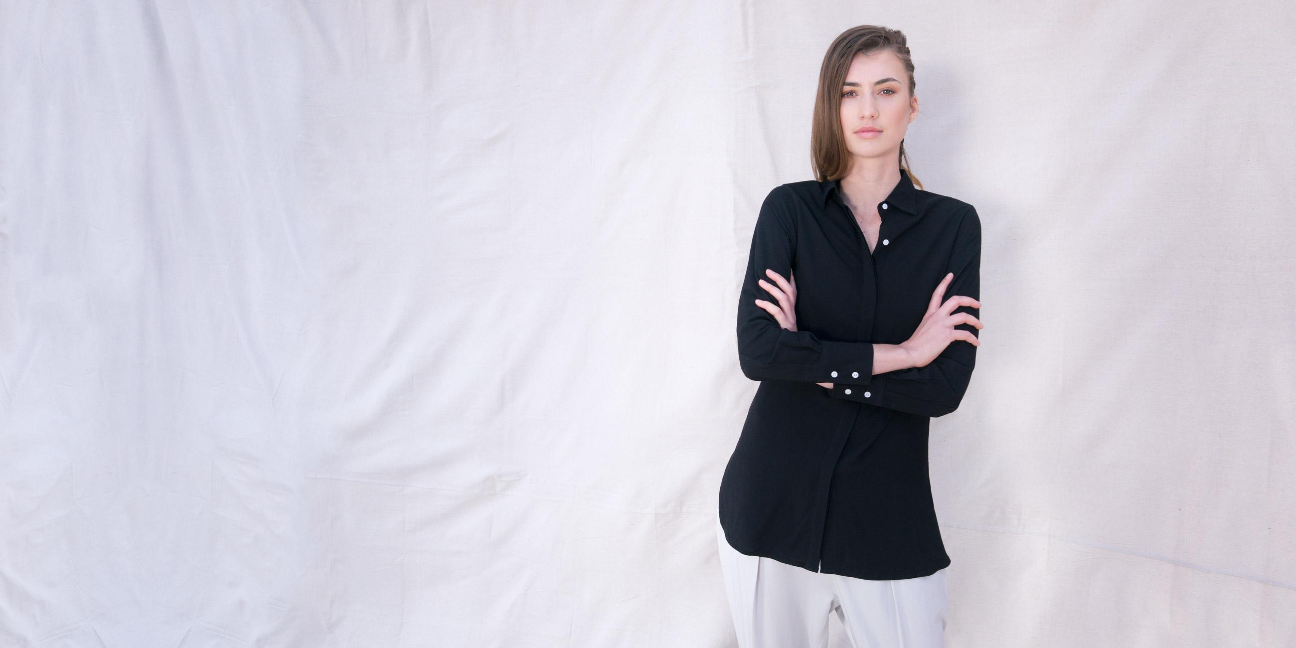Orbit Collection Bamboo Clothing Helene Shirt Black 3