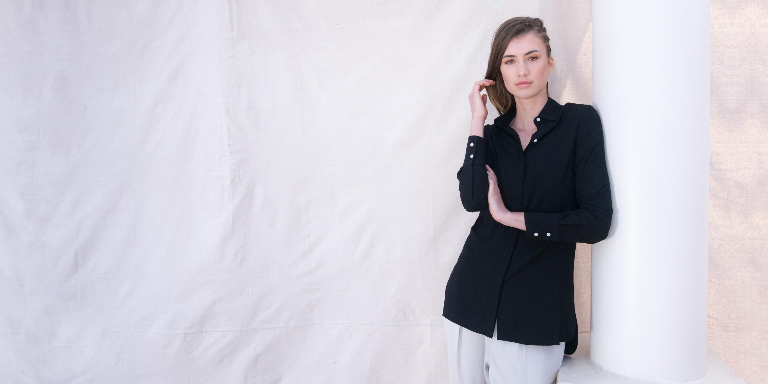 Orbit Collection Bamboo Clothing Helene Shirt Black 4