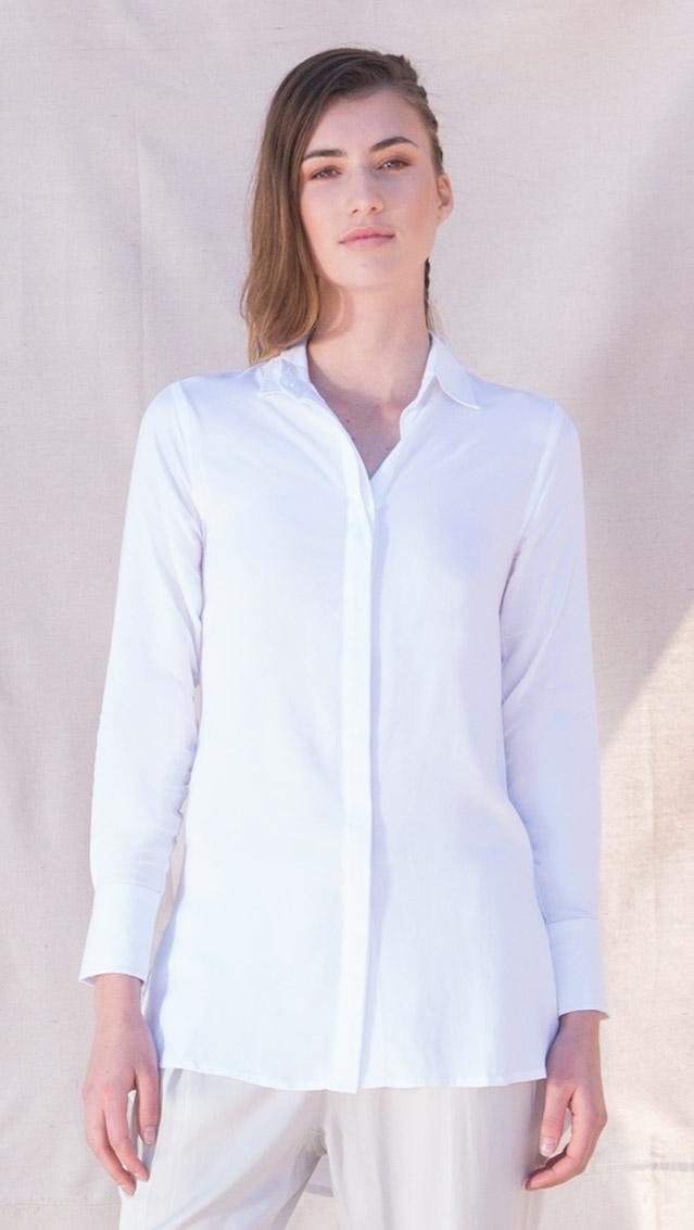 White Helene Bamboo Shirt