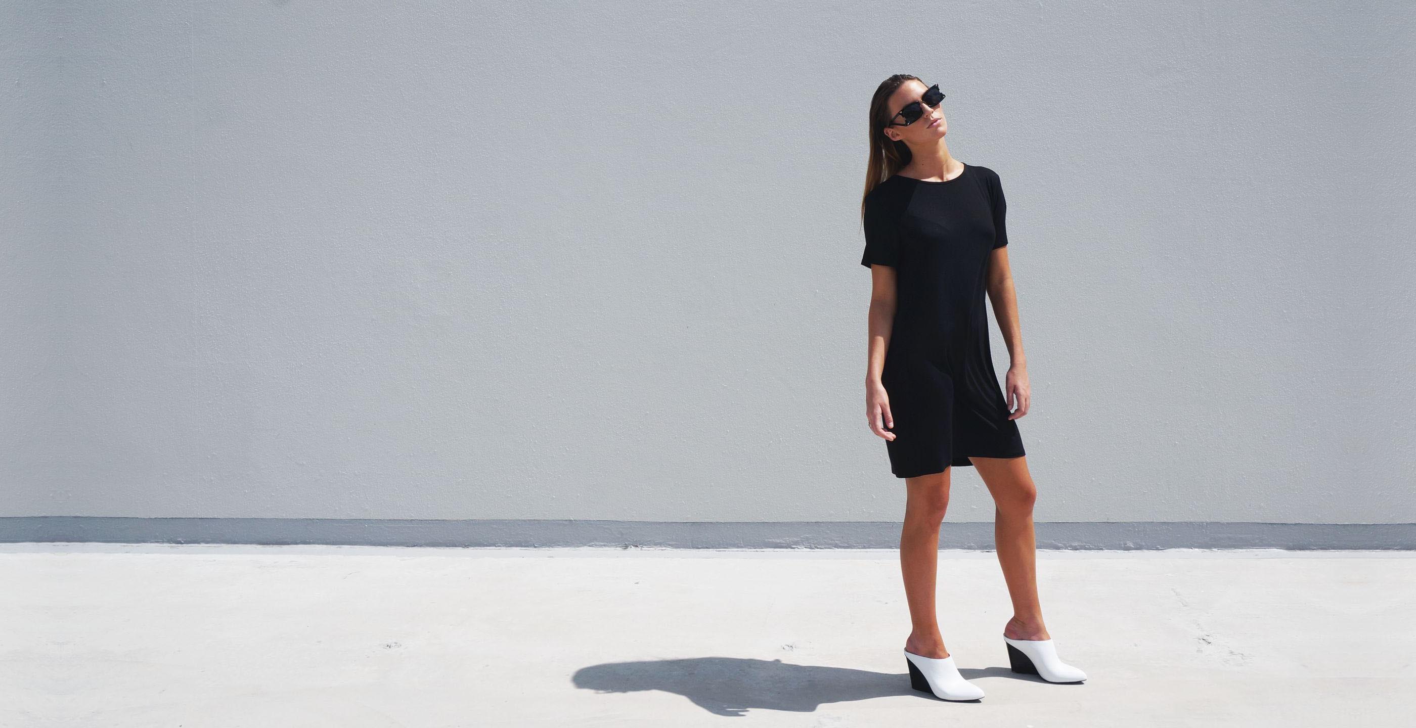 Bamboo Short Sleeve Short Dress Luna Black 3