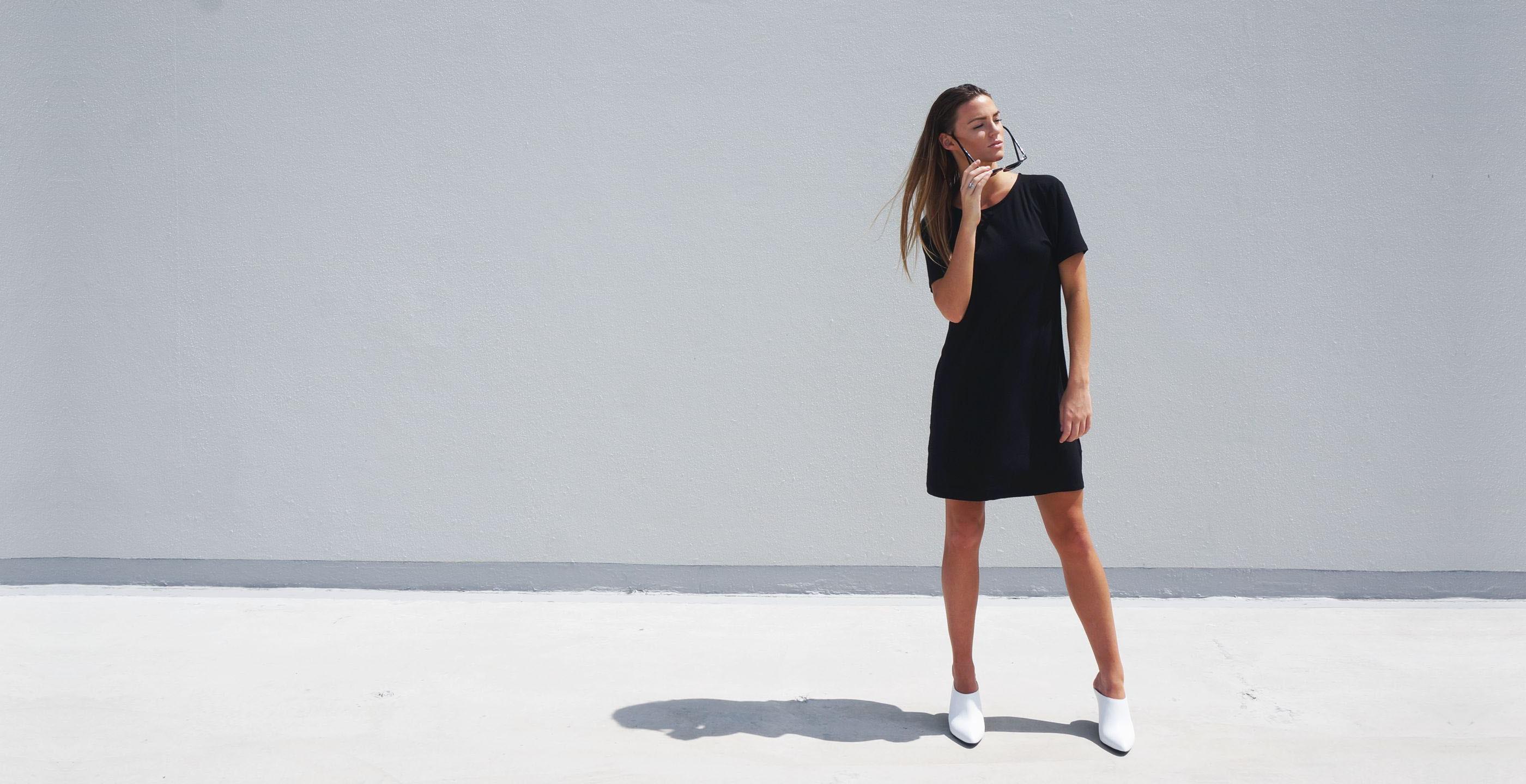 Bamboo Short Sleeve Short Dress Luna Black 2