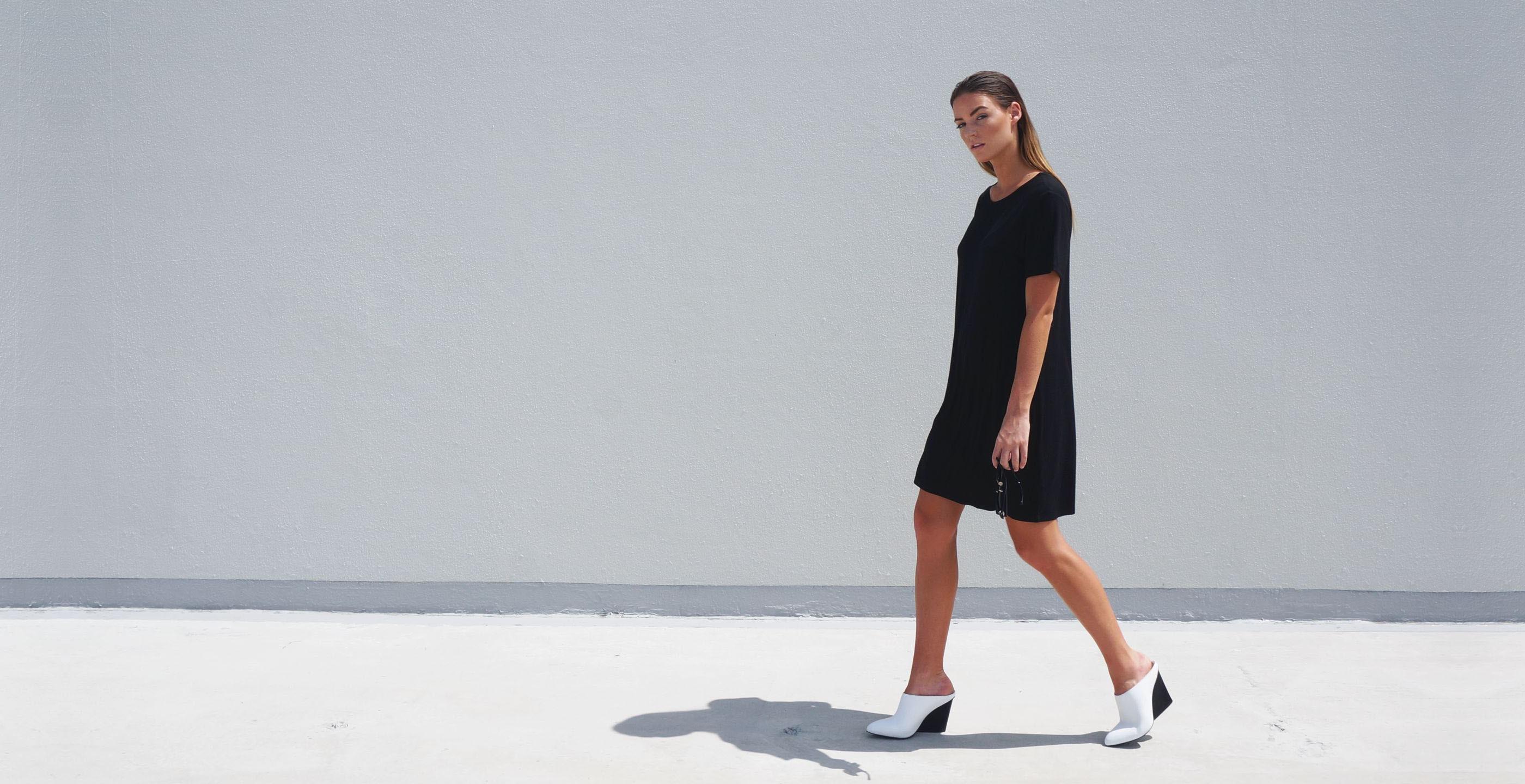 Bamboo Short Sleeve Short Dress Luna Black