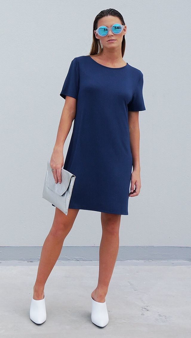 Bamboo Jersey Eco Friendly Fashion Short Sleeve Short Dress Blue