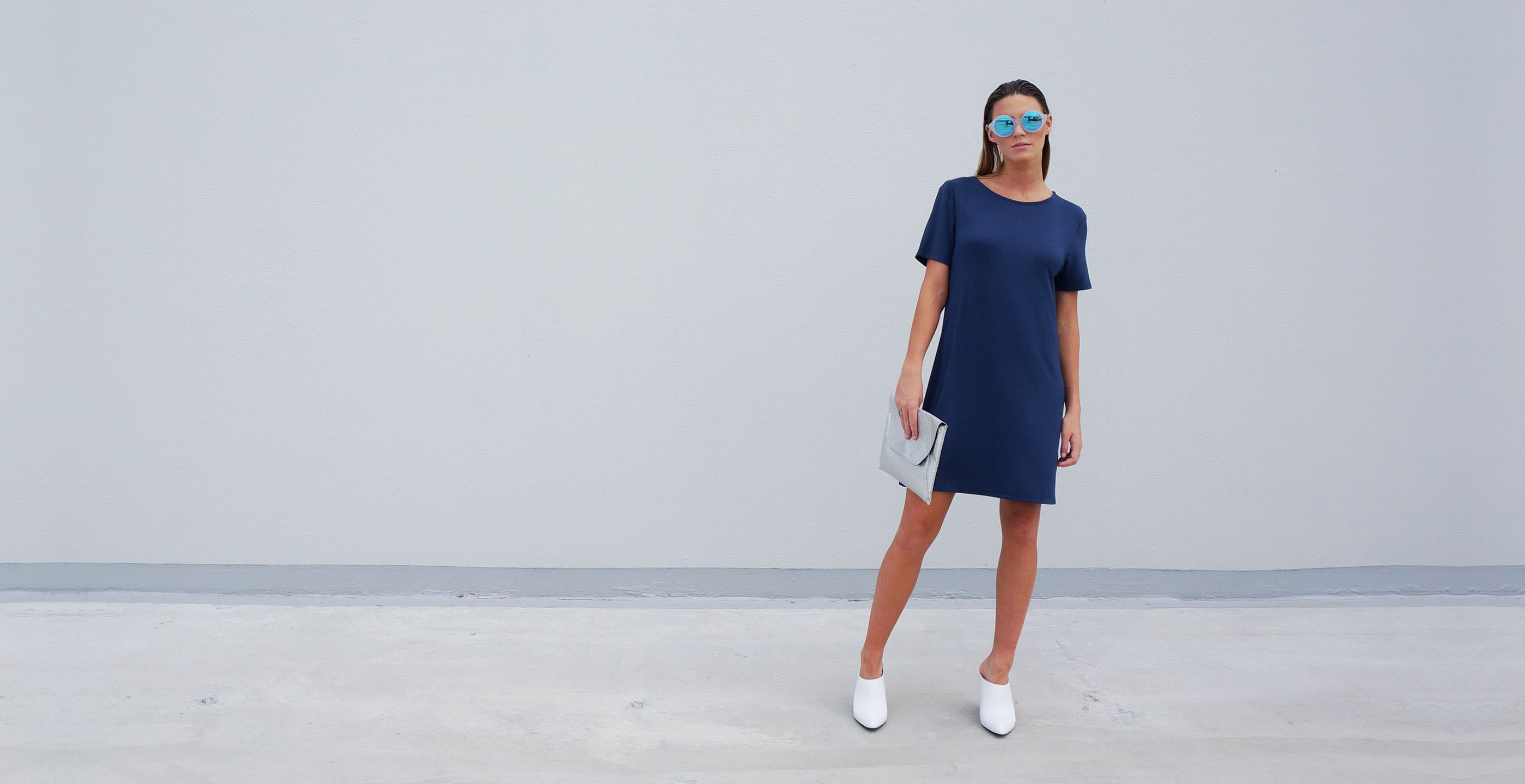 Bamboo Short Dress Blue Short Sleeve Luna