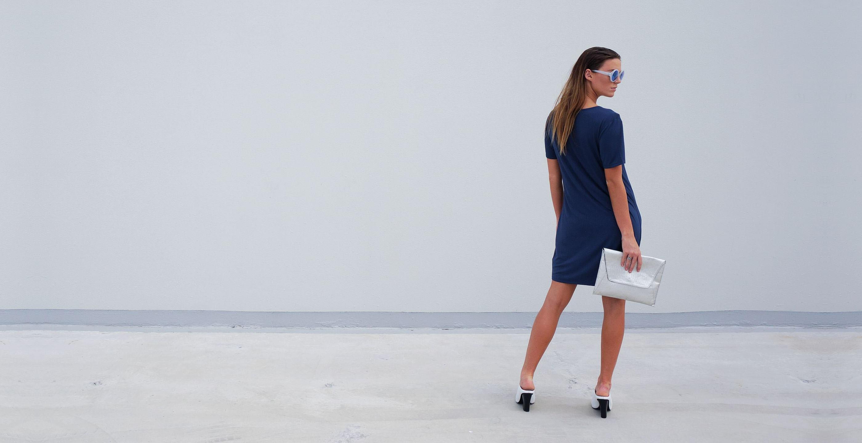Bamboo Short Dress Blue Short Sleeve Luna