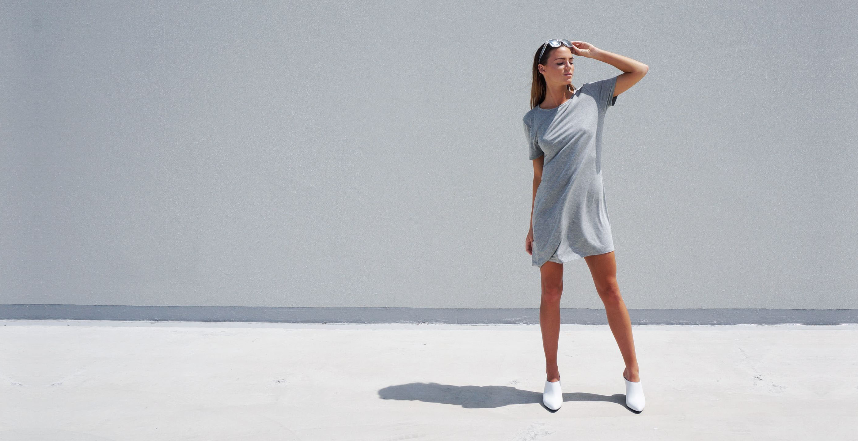 Bamboo Short Dress Grey Short Sleeve Luna
