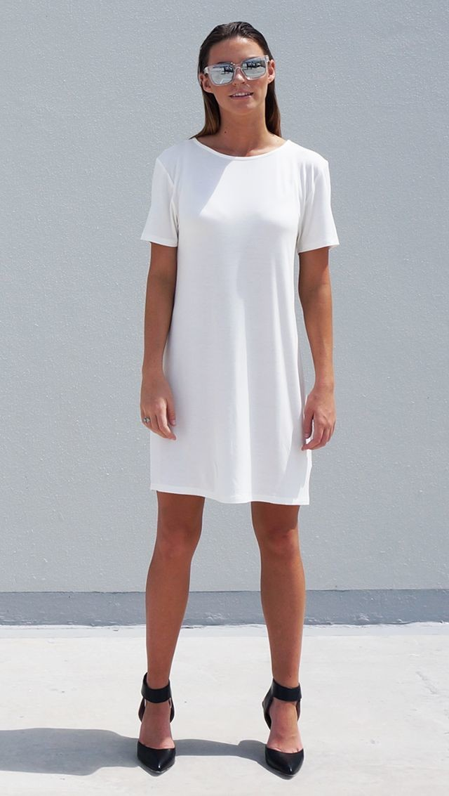 Bamboo Jersey Eco Friendly Fashion Short Sleeve Short Dress White