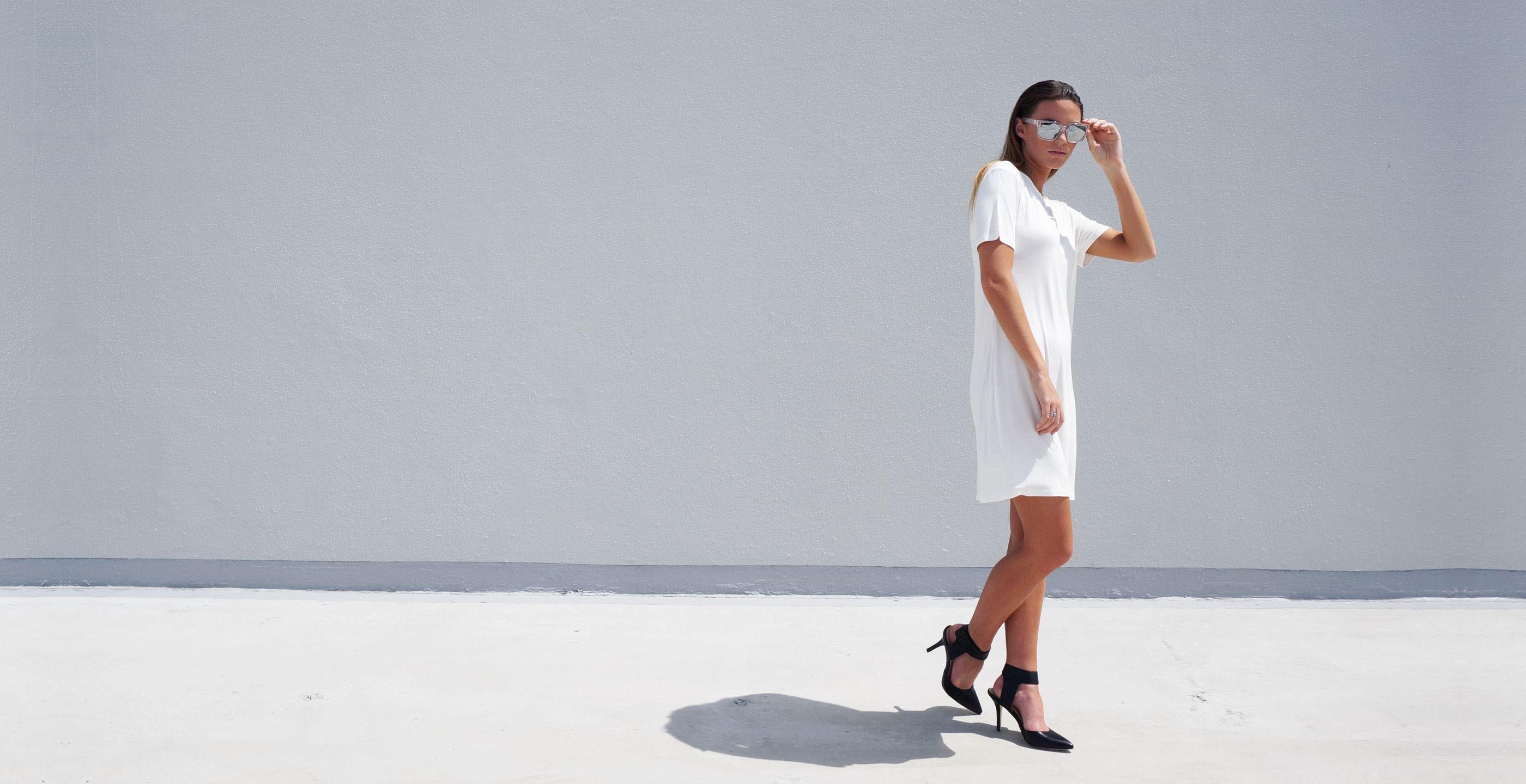 Bamboo Short Sleeve Short Dress Luna White 2