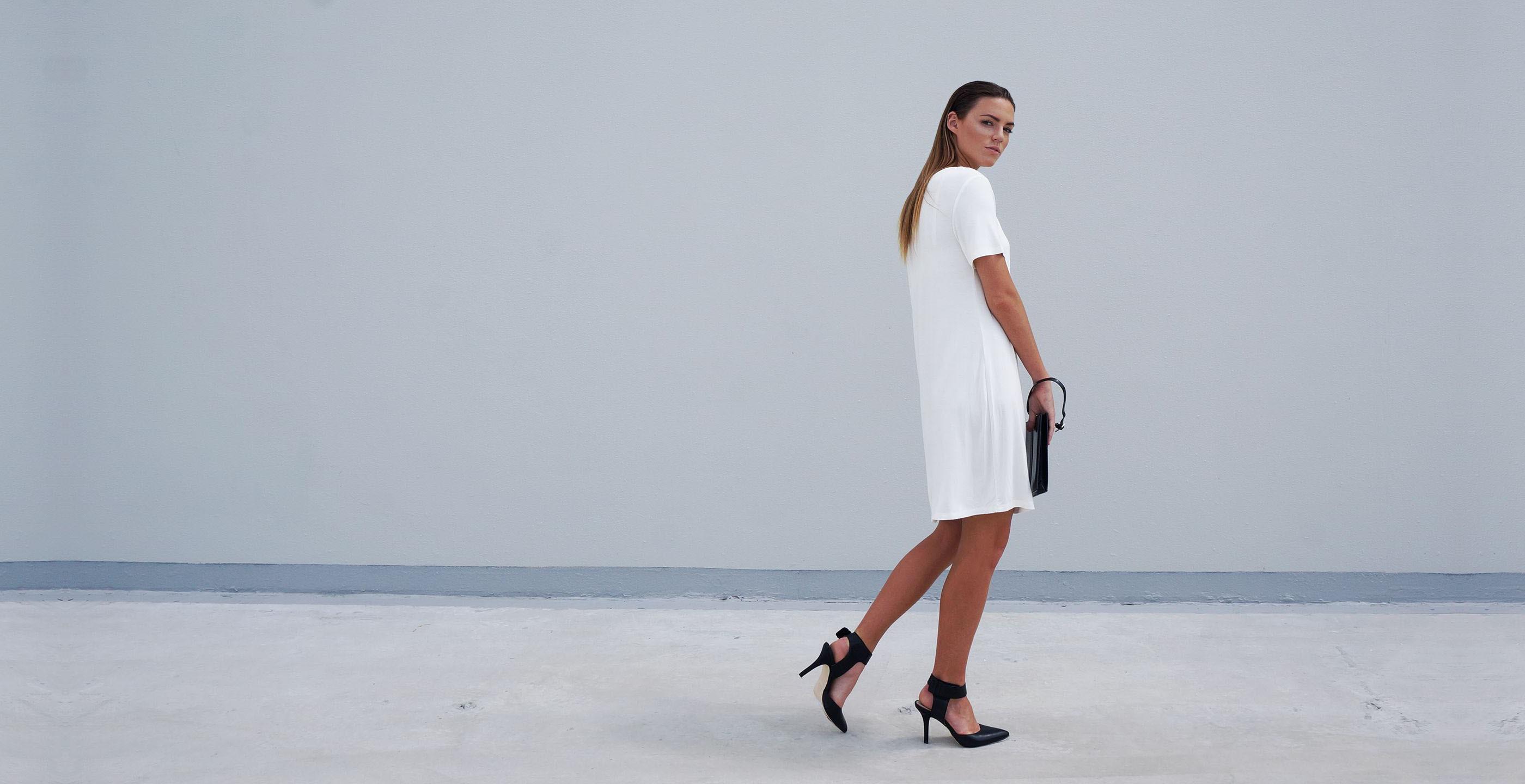 Bamboo Short Sleeve Short Dress Luna White 1