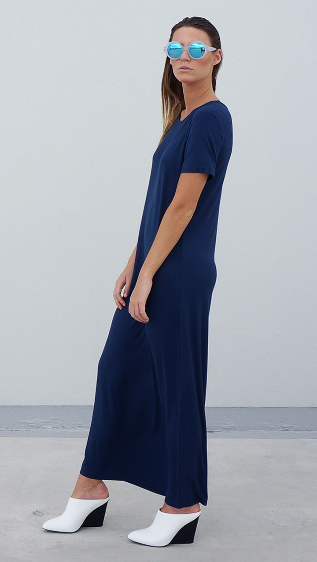 Bamboo Jersey Eco Friendly Fashion Short Sleeve Maxi Dress Blue