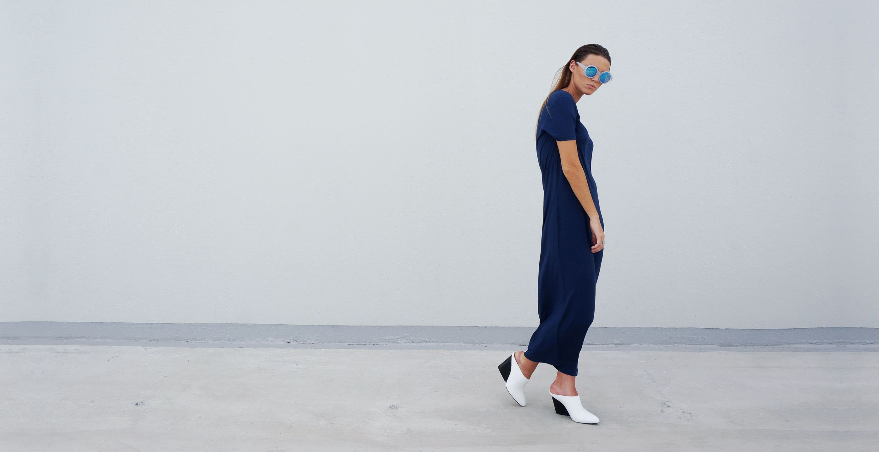 Bamboo Maxi Dress Blue Short Sleeve Luna
