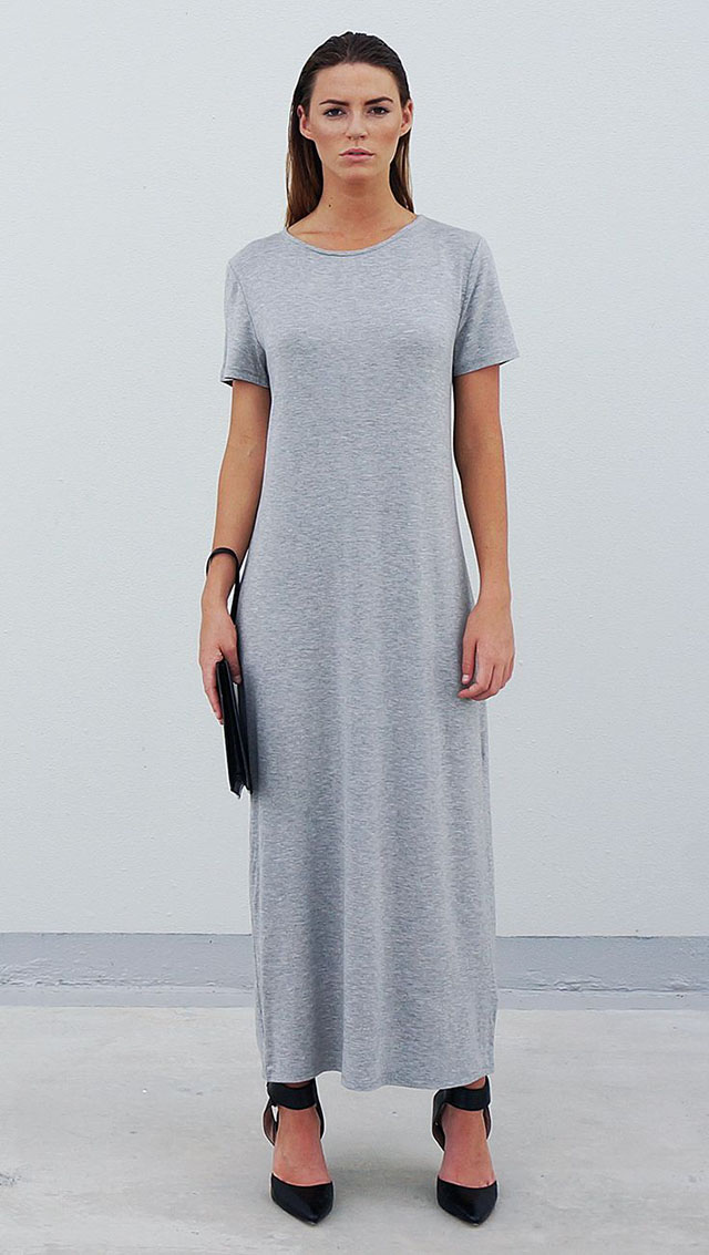 Bamboo Jersey Eco Friendly Fashion Short Sleeve Maxi Dress Grey