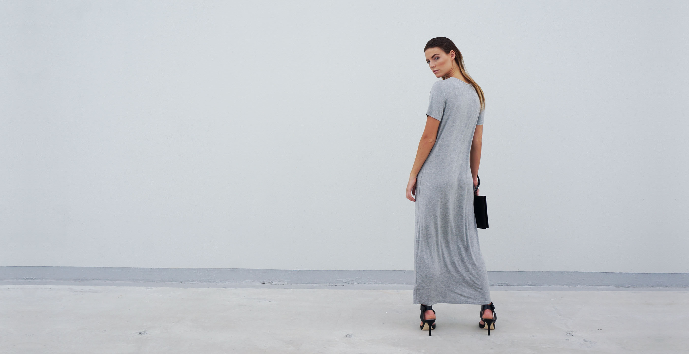 Bamboo Maxi Dress Grey Short Sleeve Luna