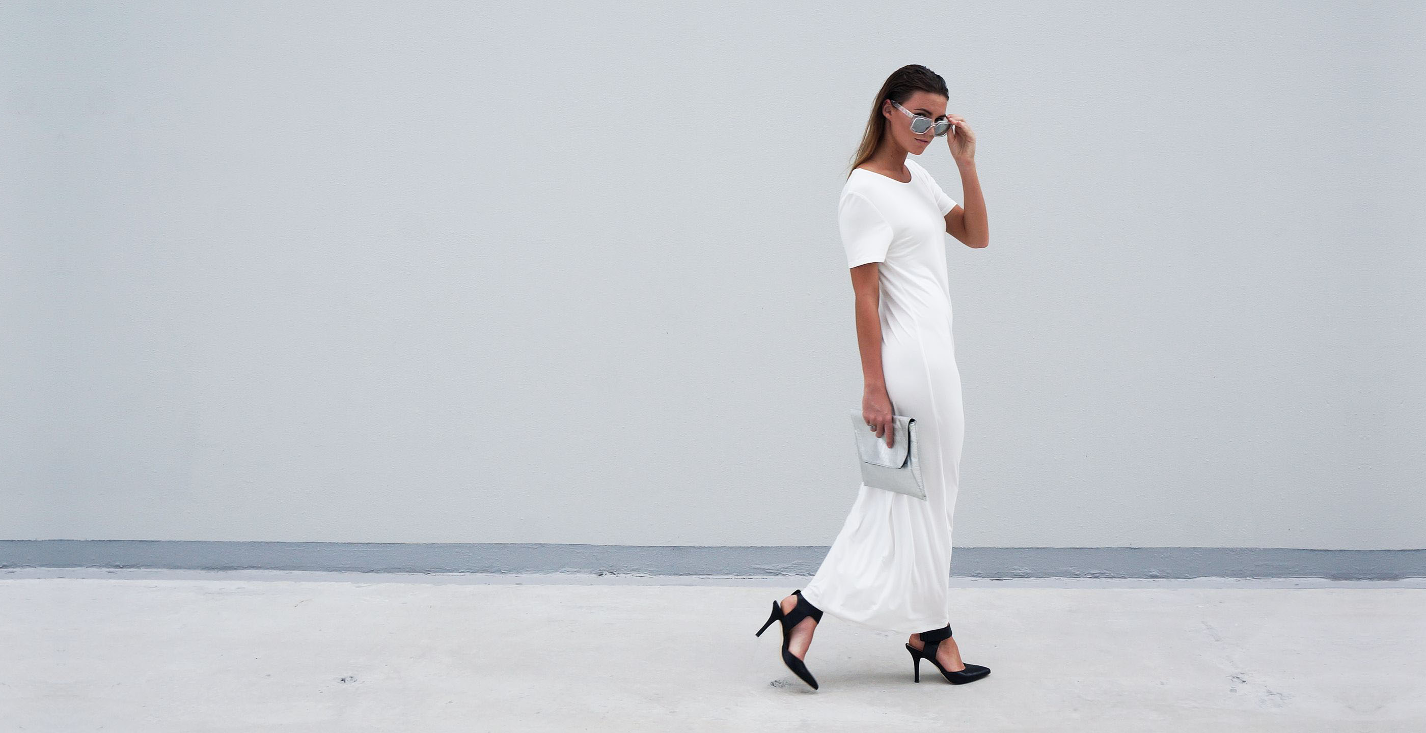 Bamboo Jersey Eco Friendly Fashion Short Sleeve Maxi Dress White