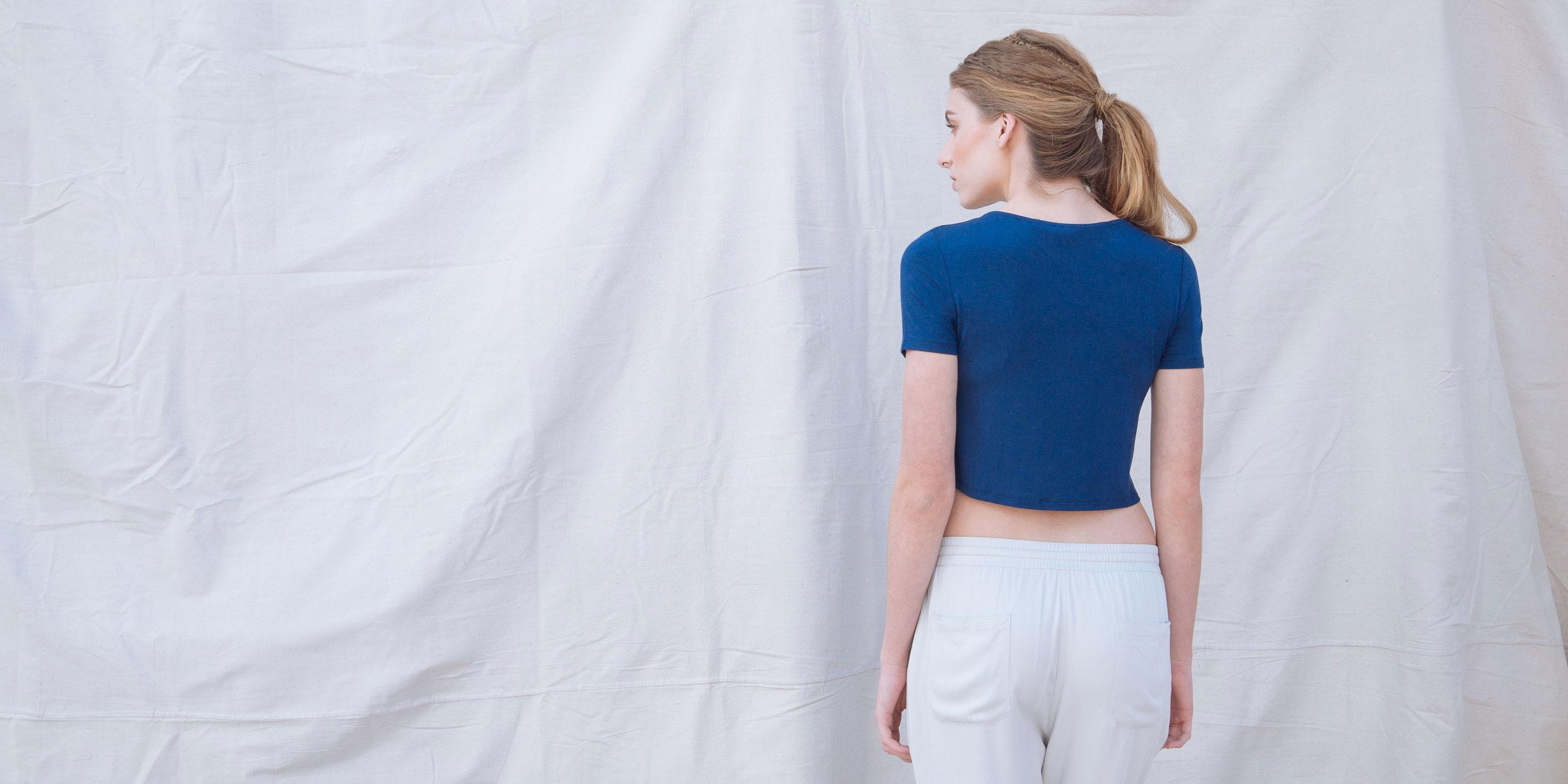 Bamboo Crop Top Blue Short Sleeve Luna 3