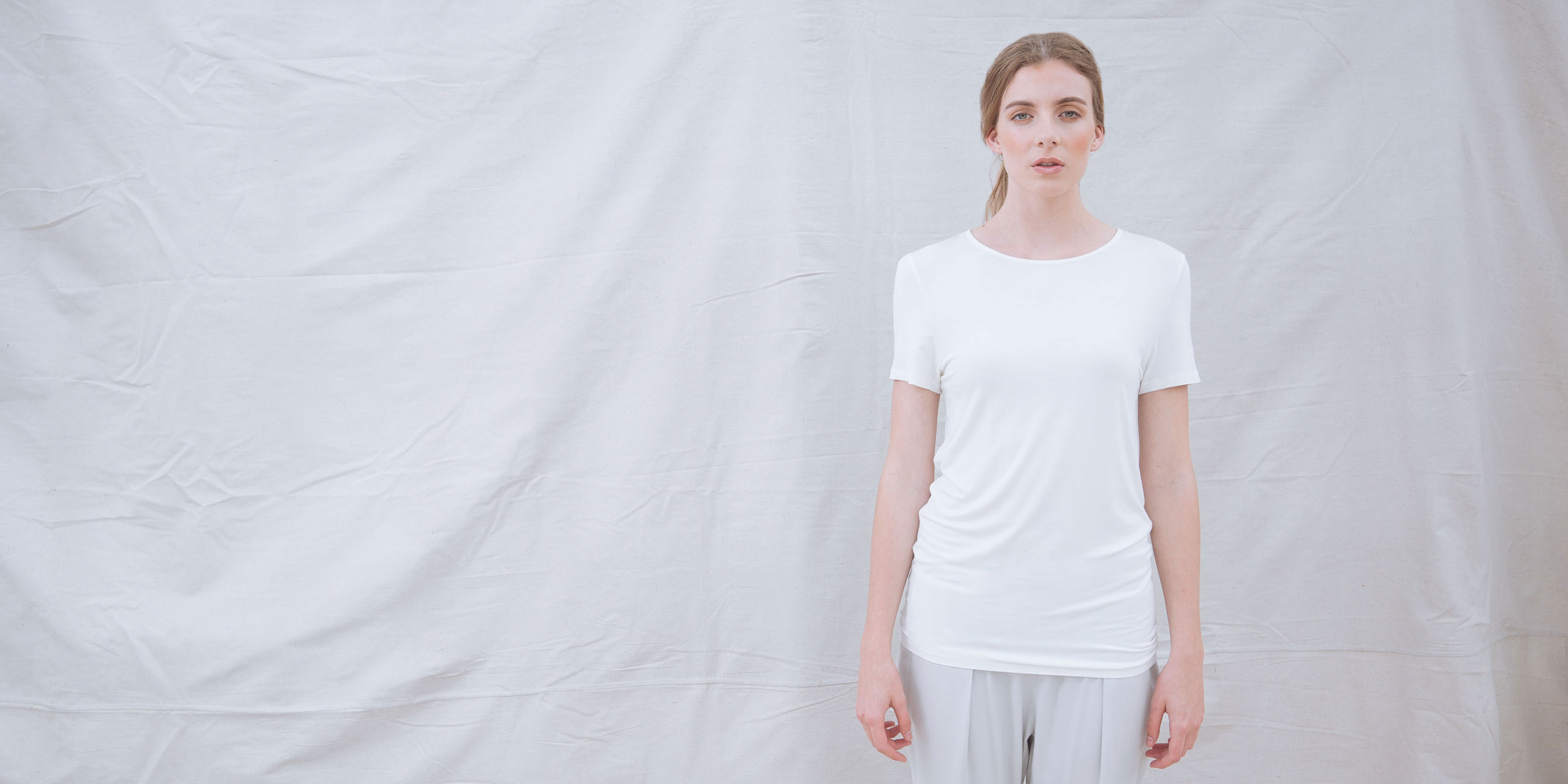 Bamboo Short Sleeve Top Luna White 1