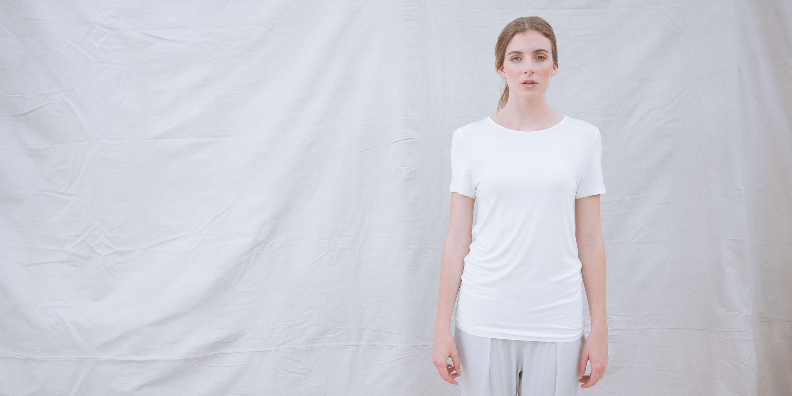 Bamboo Short Sleeve Top Luna White 1