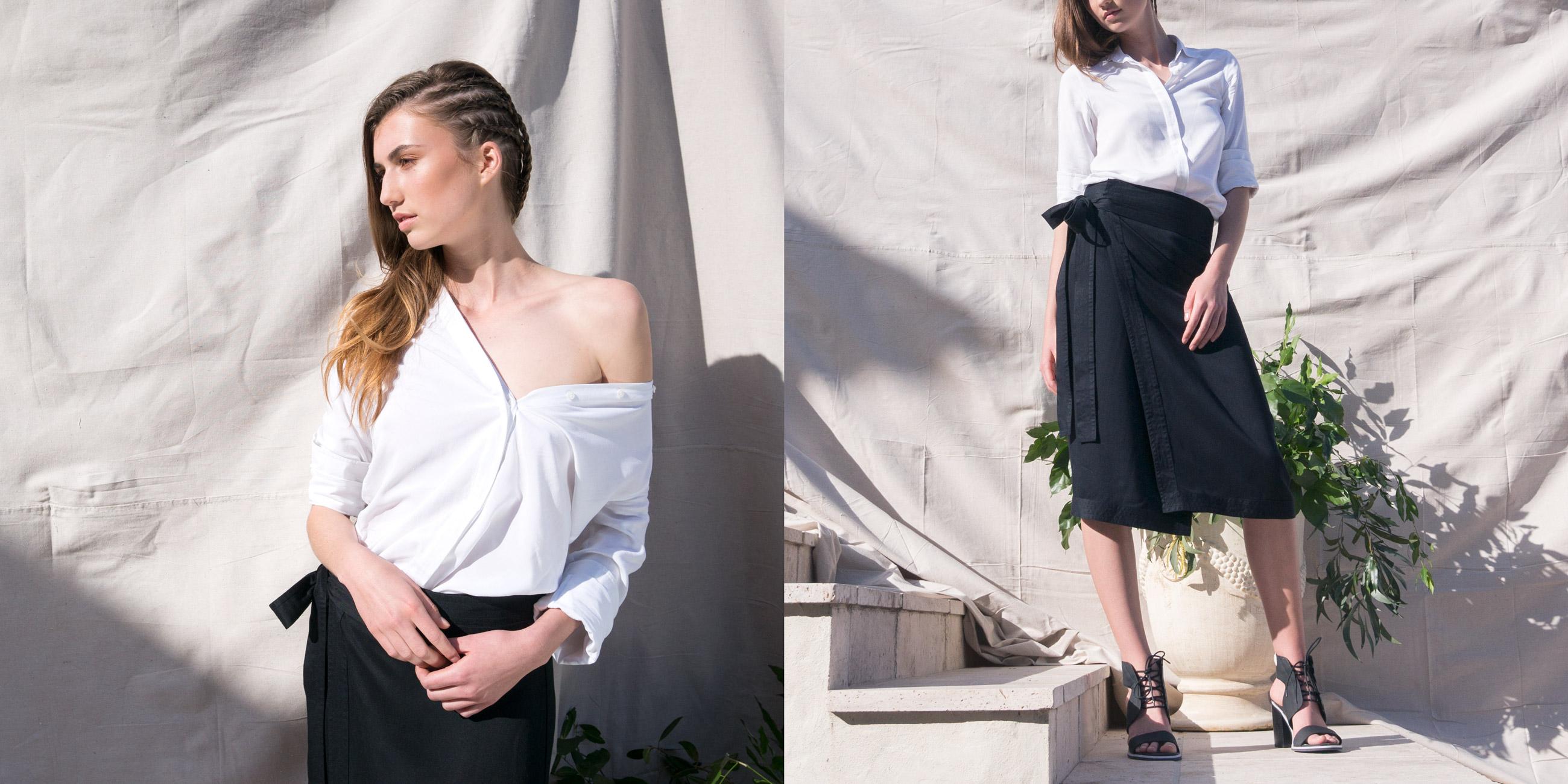 Bamboo Material Eco Friendly Fashion White Shirt Black Skirt
